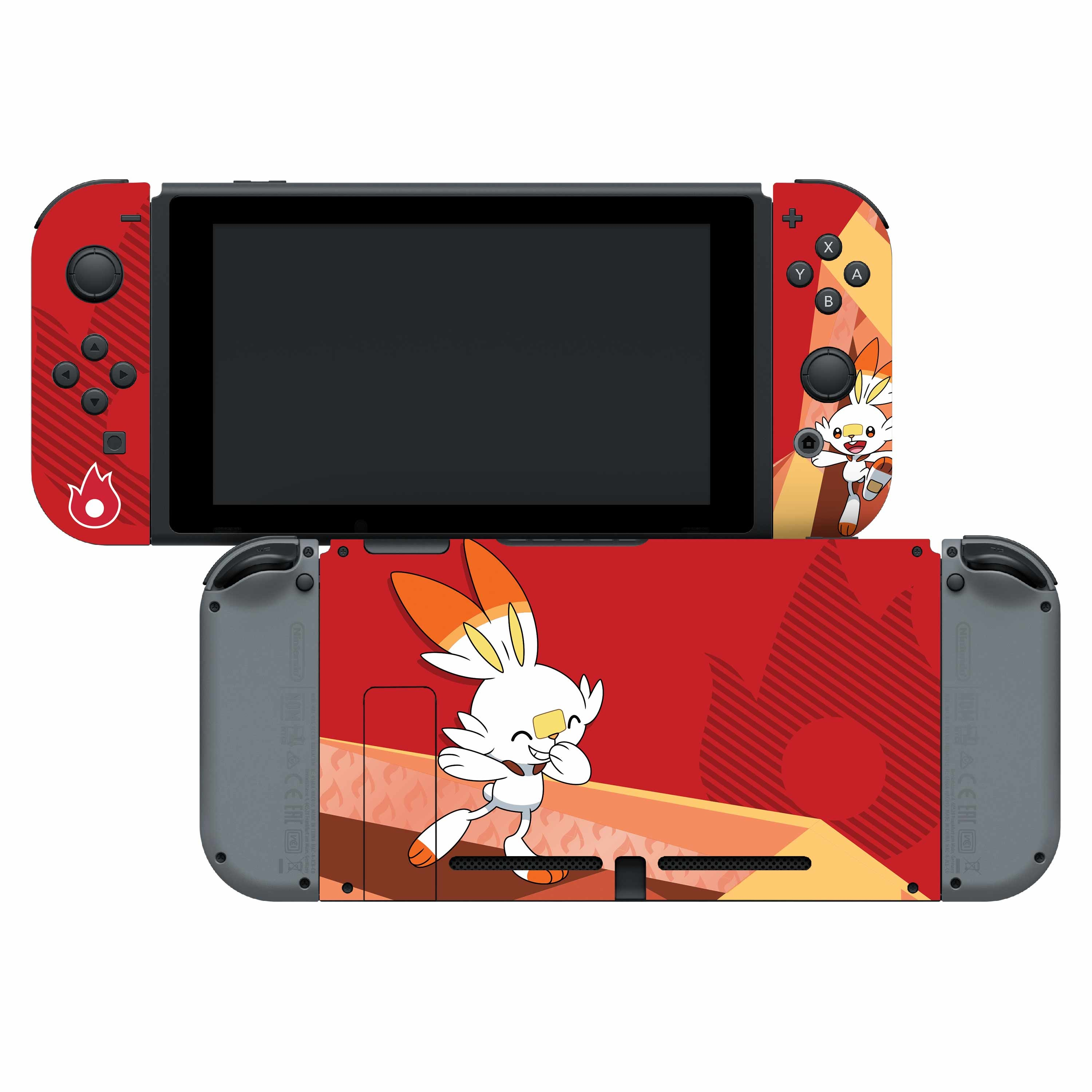 Nintendo Switch Skin & Screen Protector Set with a Pokemon Scorbunny Design, Image 1