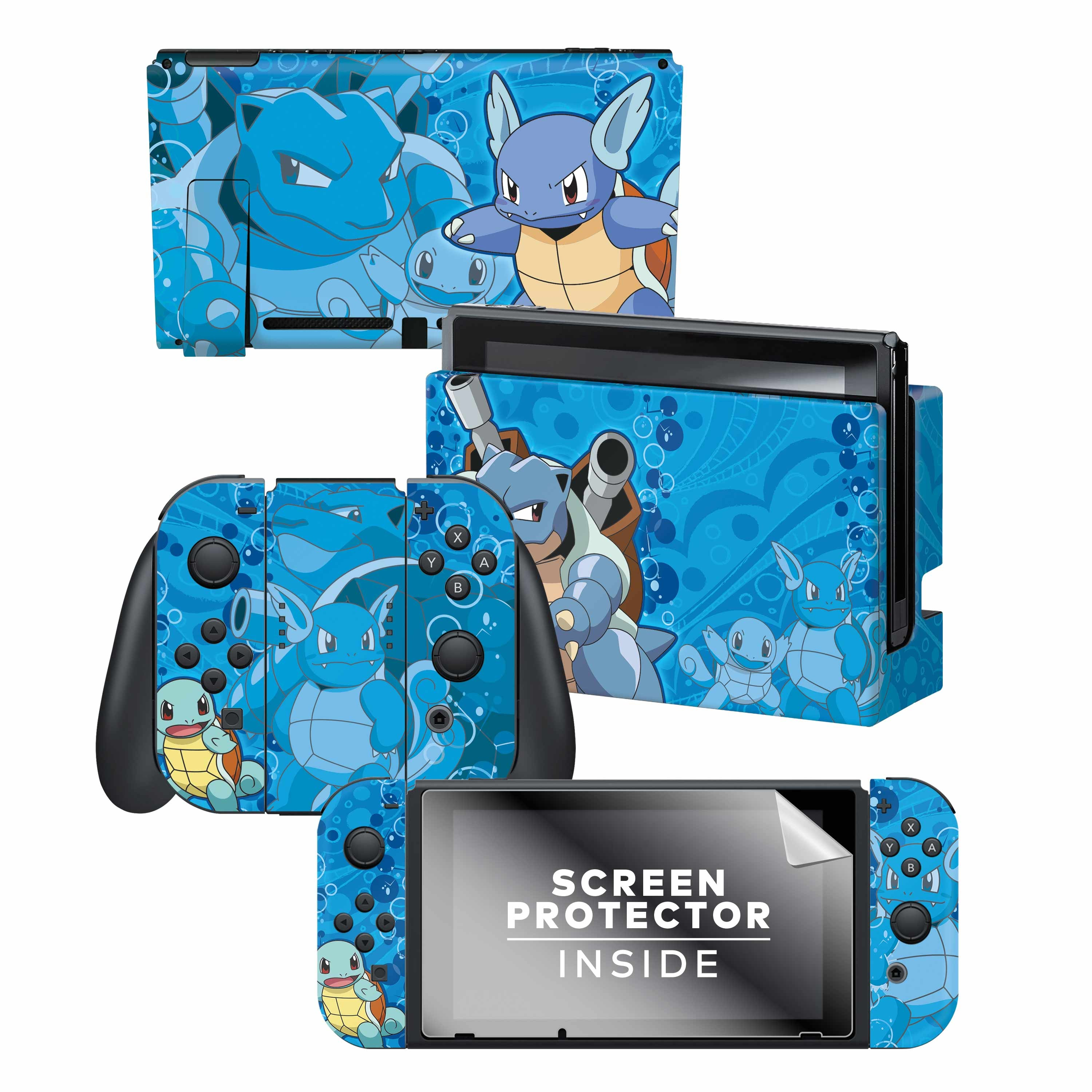Nintendo Switch Skin & Screen Protector Set with a Pokemon Squirtle Evolutions Design, Image 1