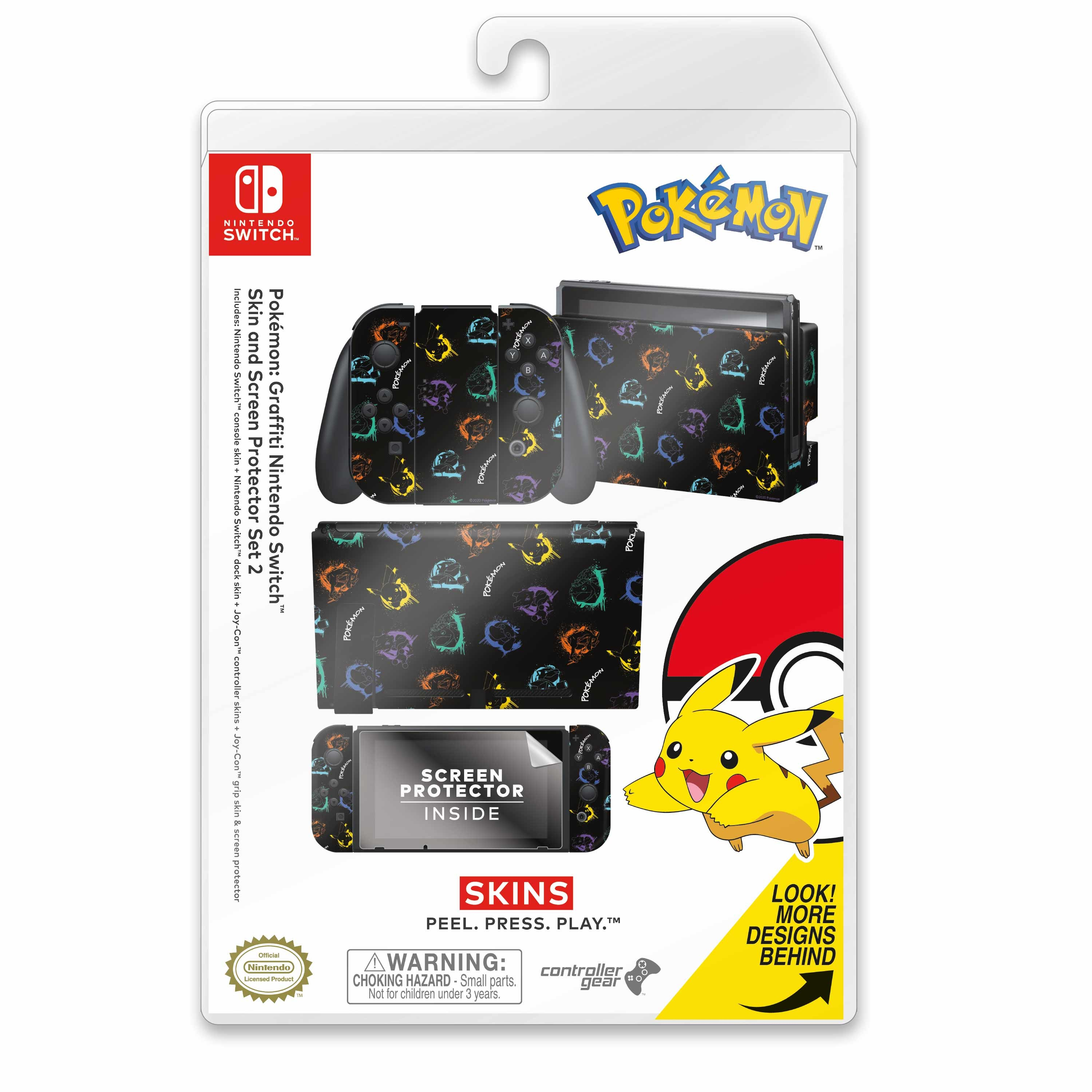 Officially Licensed Nintendo Switch Skin & Screen Protector Set - Pokemon - Graffiti Set 2 - Nintendo Switch