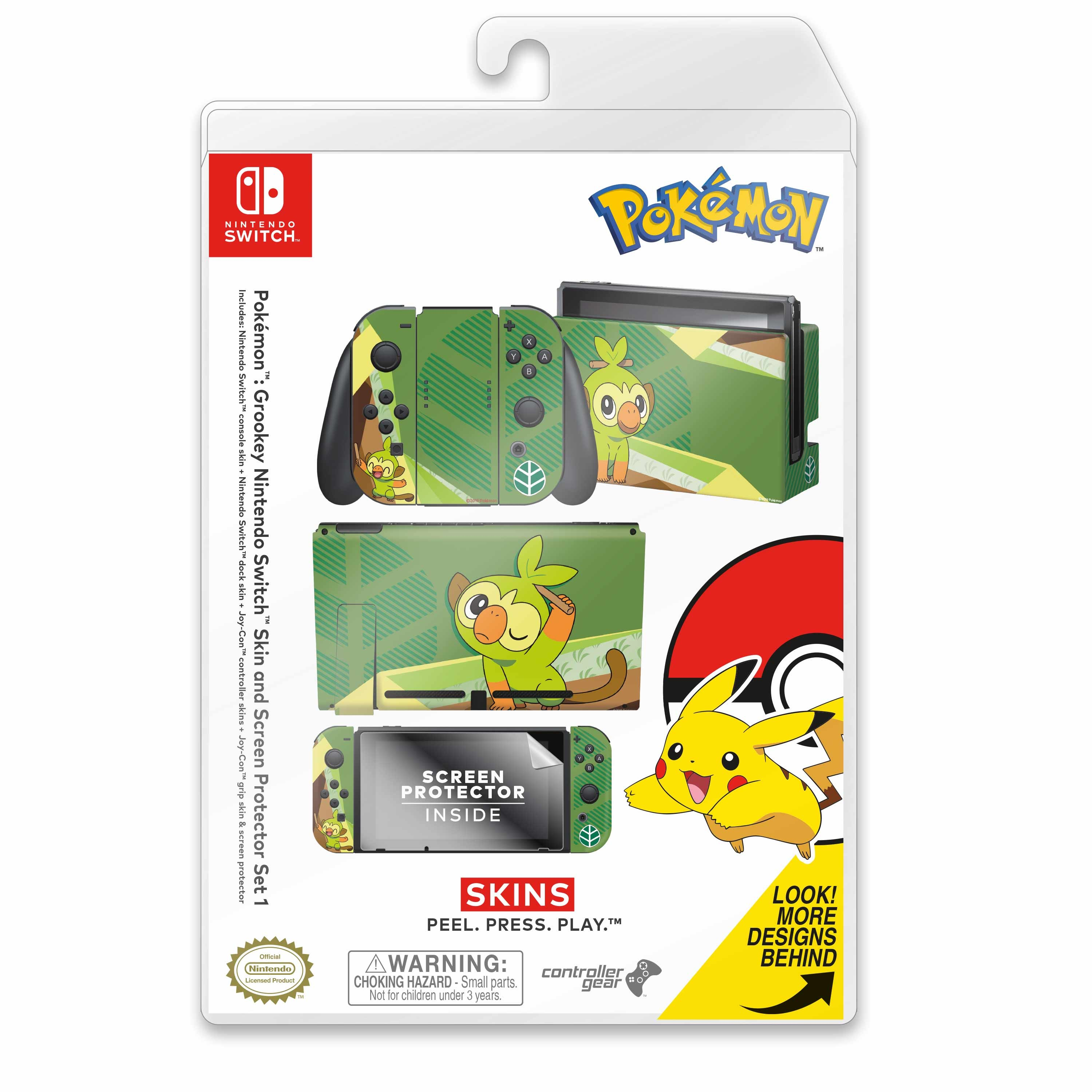 Nintendo Switch Skin & Screen Protector Set with a Pokemon Grookey Design, Image 1