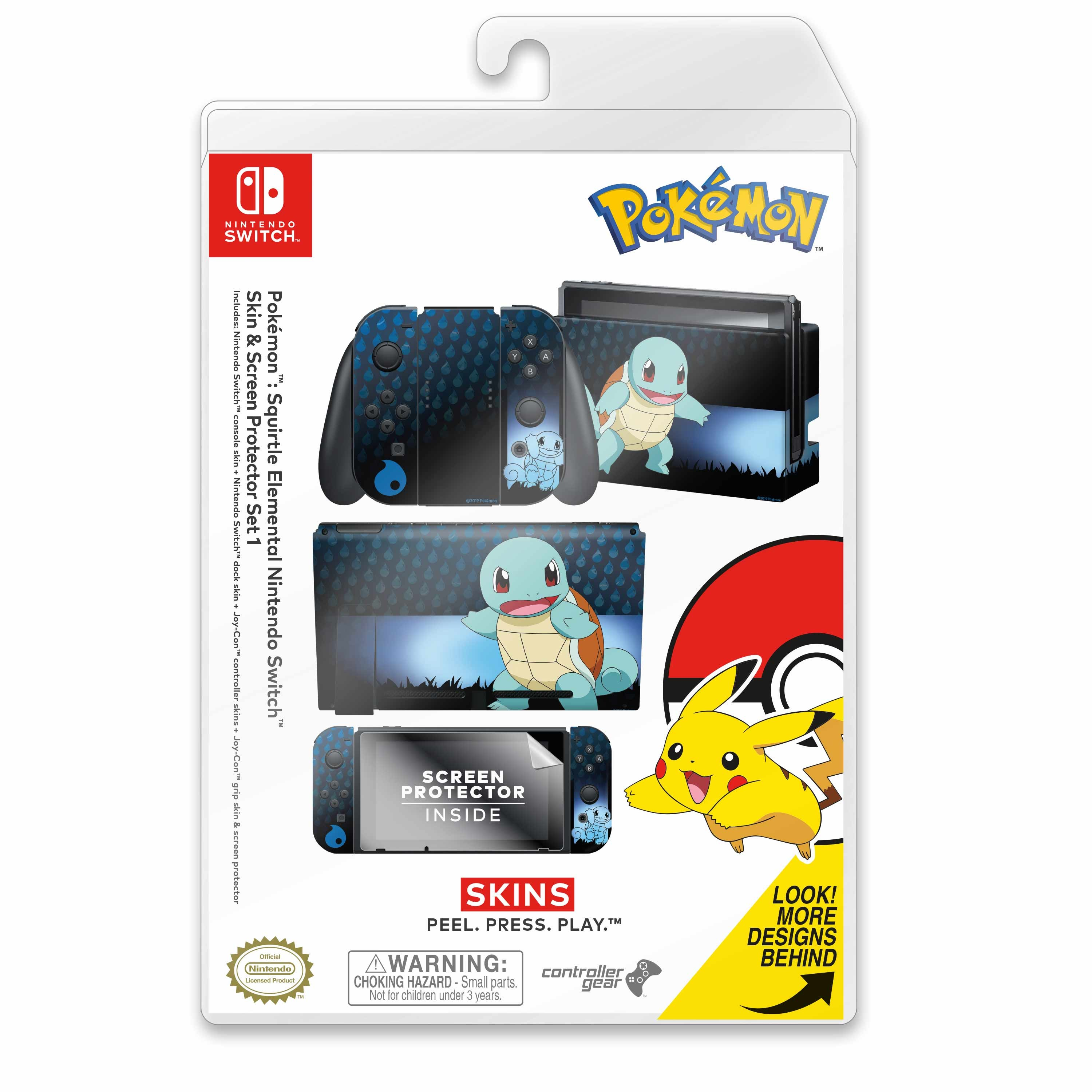 Nintendo Switch Skin & Screen Protector Set with a Pokemon Squirtle Elemental Design, Image 1