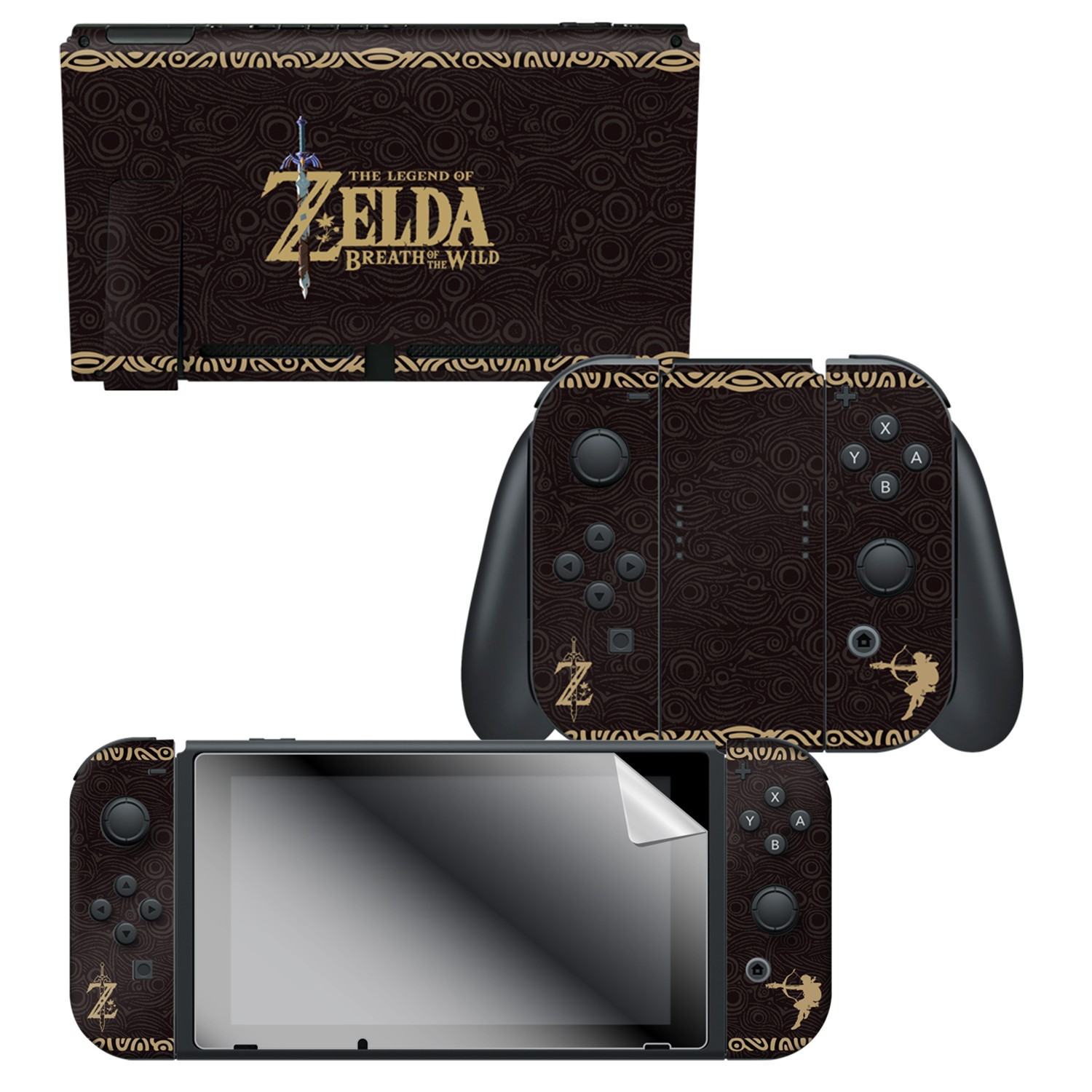 "The Legend of Zelda™ Breath of the Wild ""Link Tribal"" Nintendo Switch™ Console Skin + Joy-Con™ Skin + Joy-Con™ Grip Skin + Screen Protector Bundle Assortment"