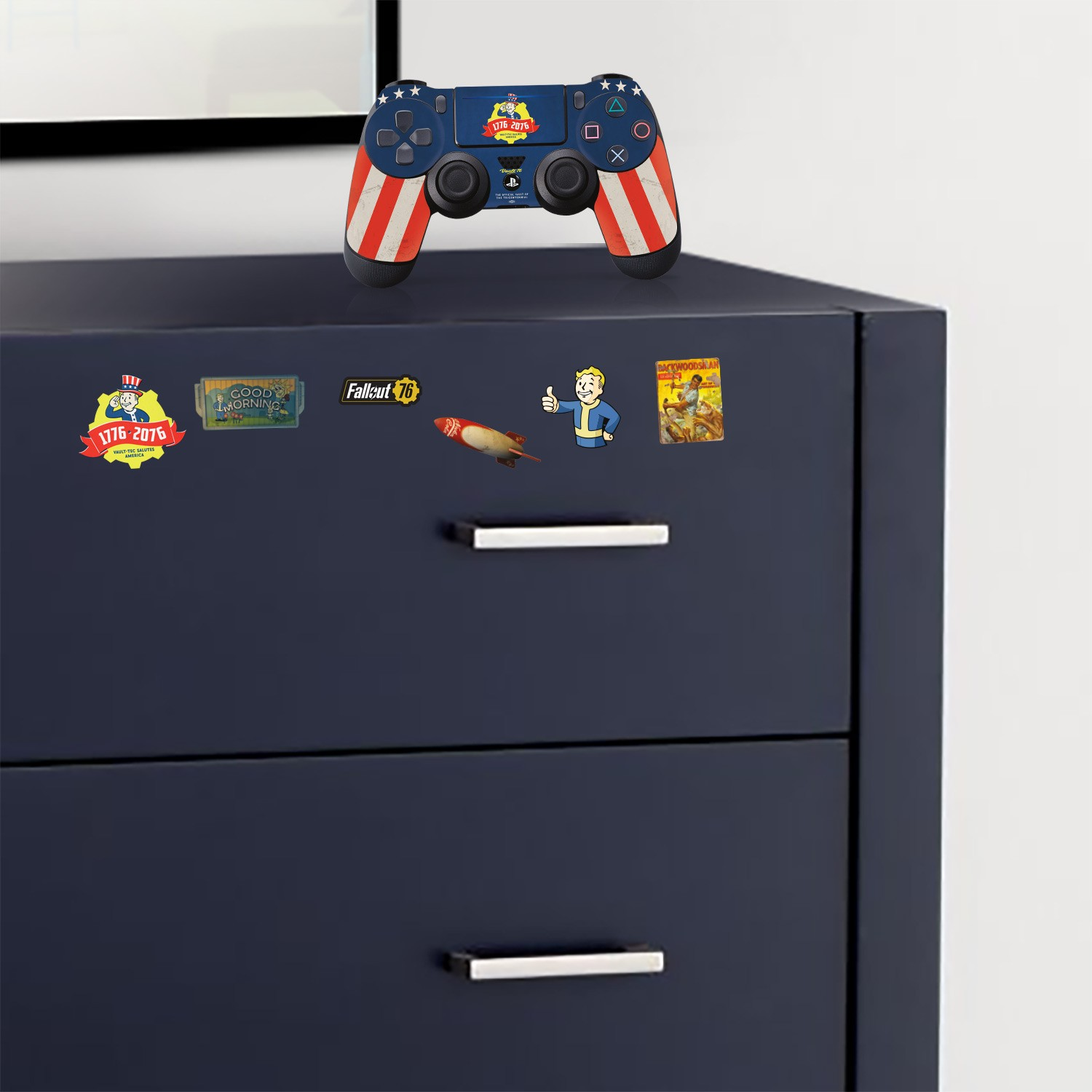 "Officially Licensed PlayStation 4 Fallout 76 DUALSHOCK 4 Wireless Controller Skin and Tech Decals ""Tricentennial"""
