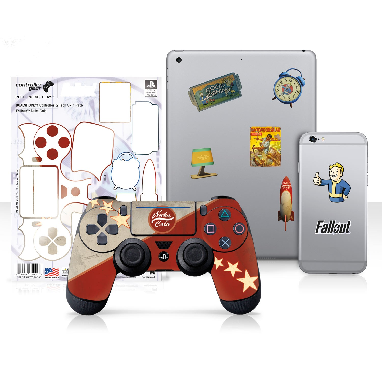 "Officially Licensed PlayStation 4 Fallout DUALSHOCK 4 Wireless Controller Skin and Tech Decals ""Nuka Cola"""