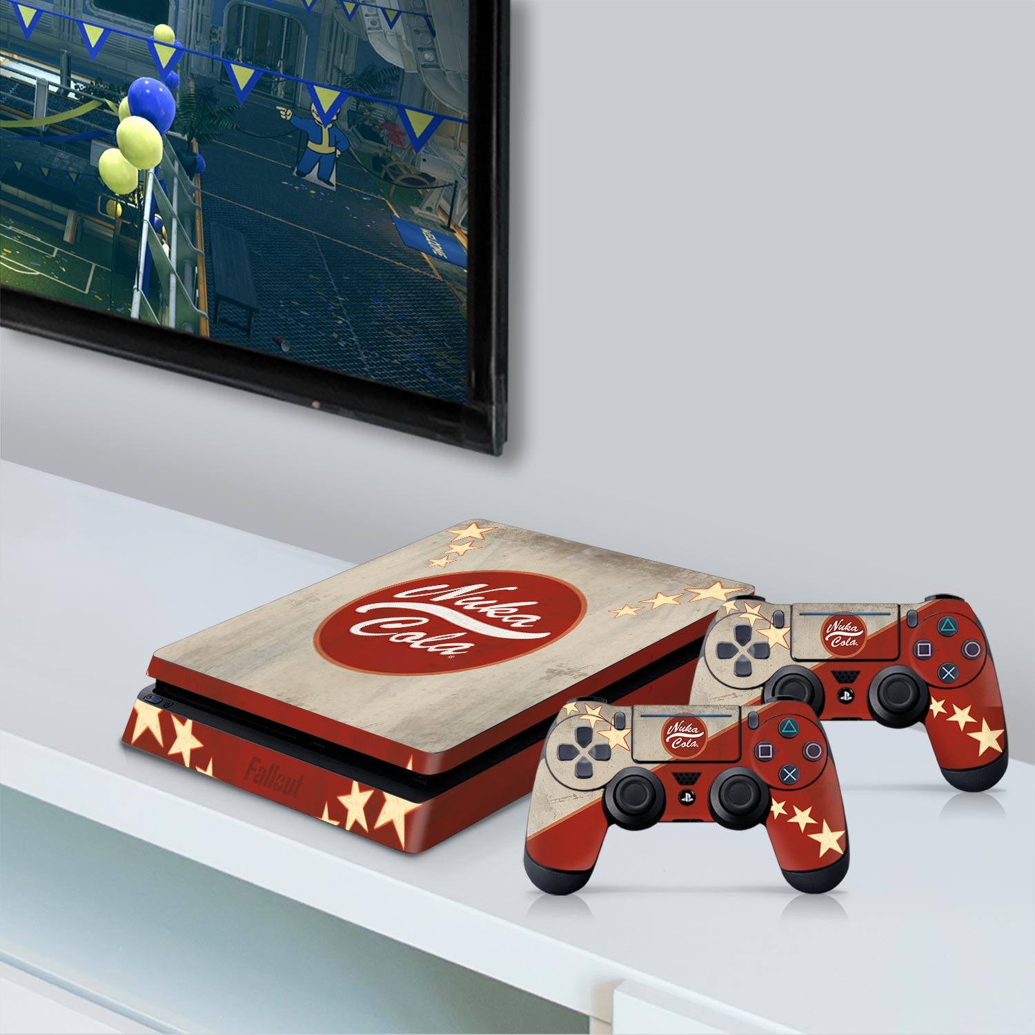 Officially Licensed Console Skin Bundle for PS4 Slim - Fallout - Nuka Cola