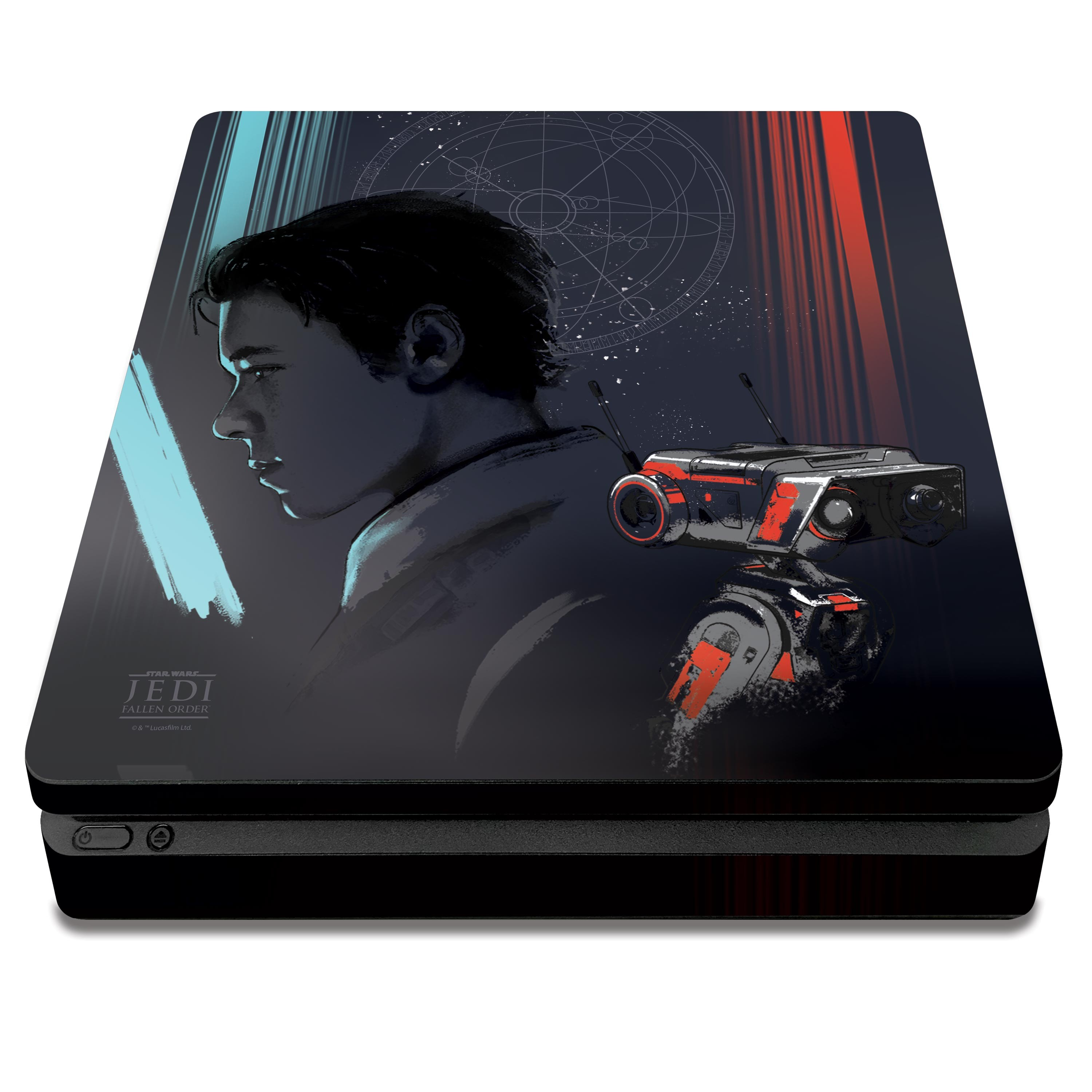 PS4 Slim Console & Controller Skin with a Star Wars Jedi Fallen Order Cal Kestis/BD-1 Design, Image 1