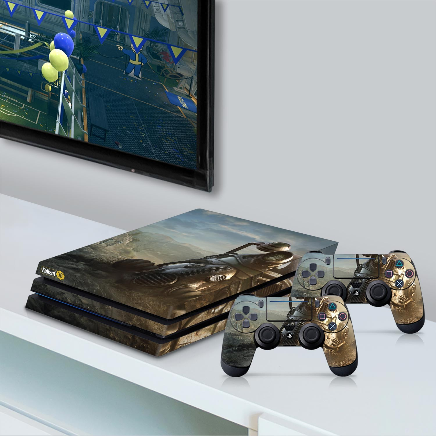 Officially Licensed Console Skin Bundle for PS4 Pro - Fallout 76 - Power Armor Helmet