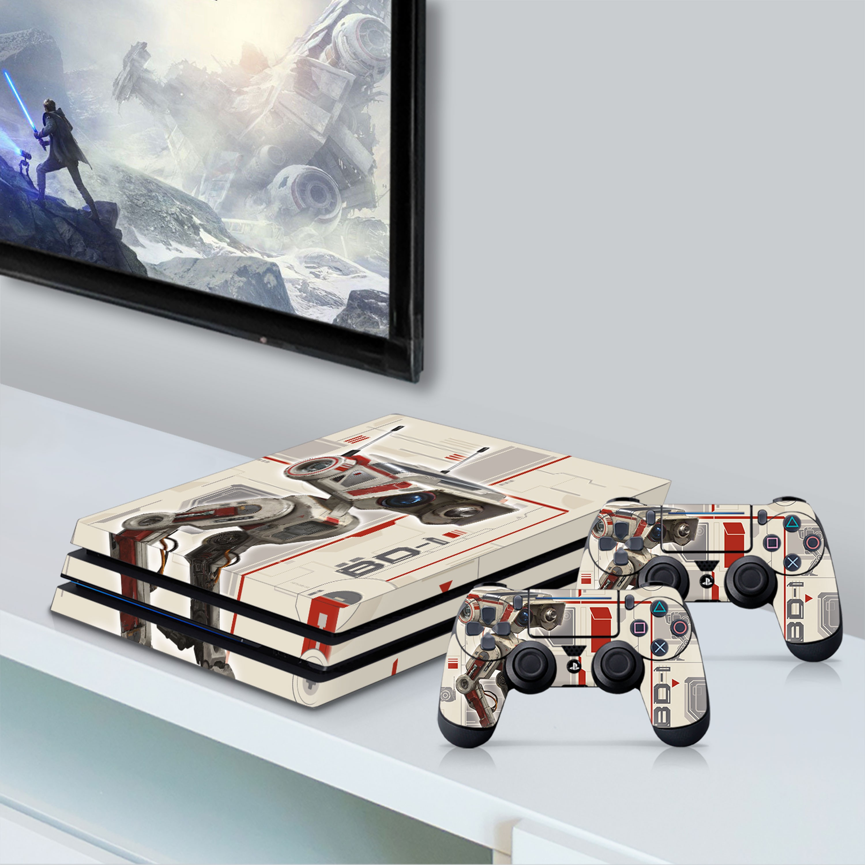 PS4 Pro Console & Controller Skin with a Star Wars Jedi Fallen Order BD-1 Design, Image 1