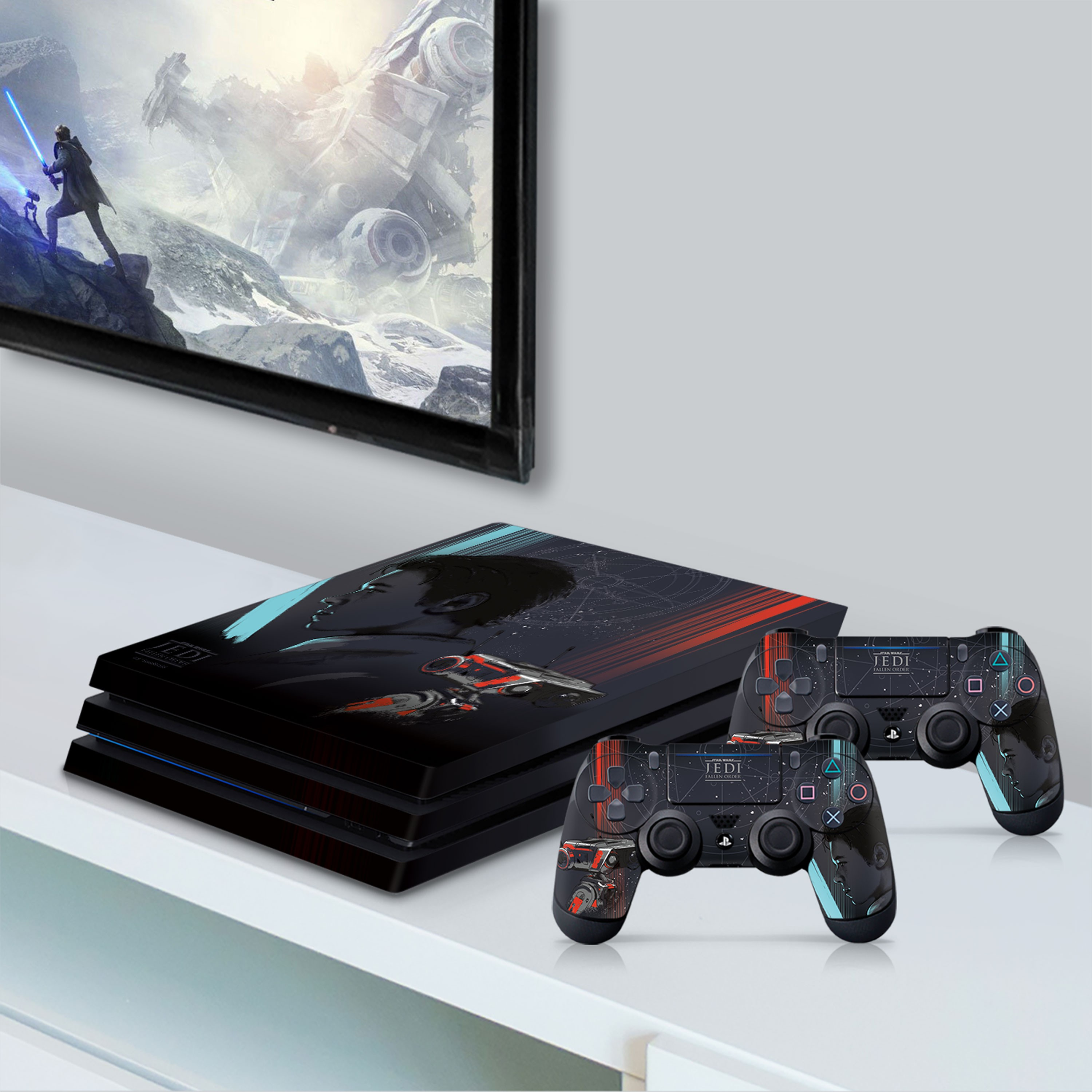 PS4 Pro Console & Controller Skin with a Star Wars Jedi Fallen Order Cal Kestis/BD-1 Design, Image 1
