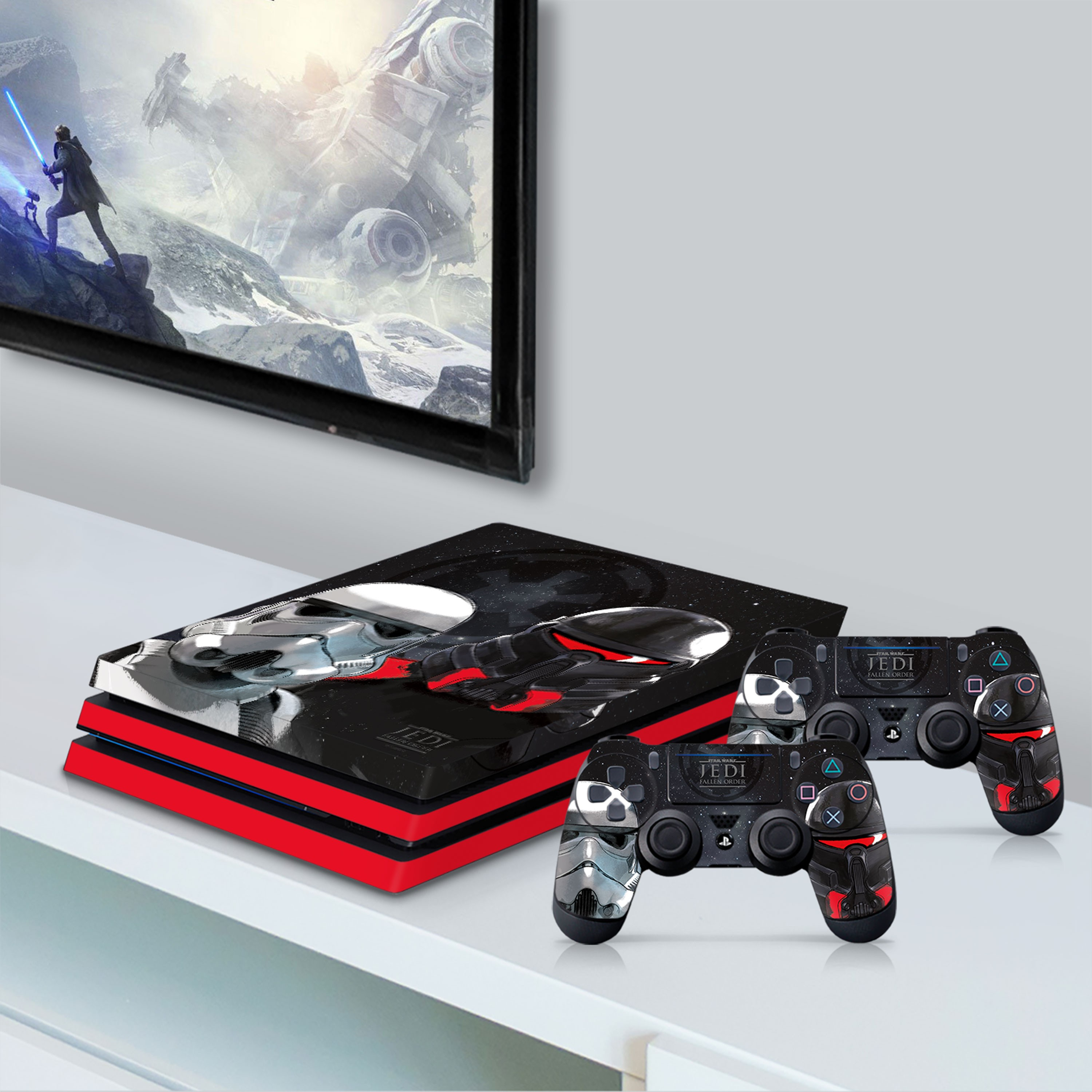 PS4 Pro Console & Controller Skin with a Star Wars Jedi Fallen Order Empire Troopers Design, Image 1