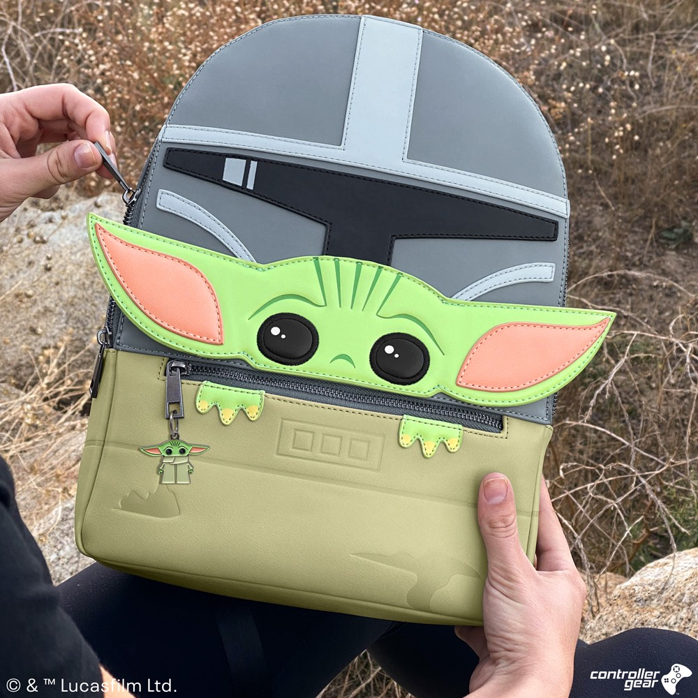 Controller Gear Official, Authentic Disney Star Wars: The Mandalorian-Mandalorian and the Child, Baby Yoda Backpack. 3D Ears, 2 Laptop + Tablet Sleeves, Bag, Purse
