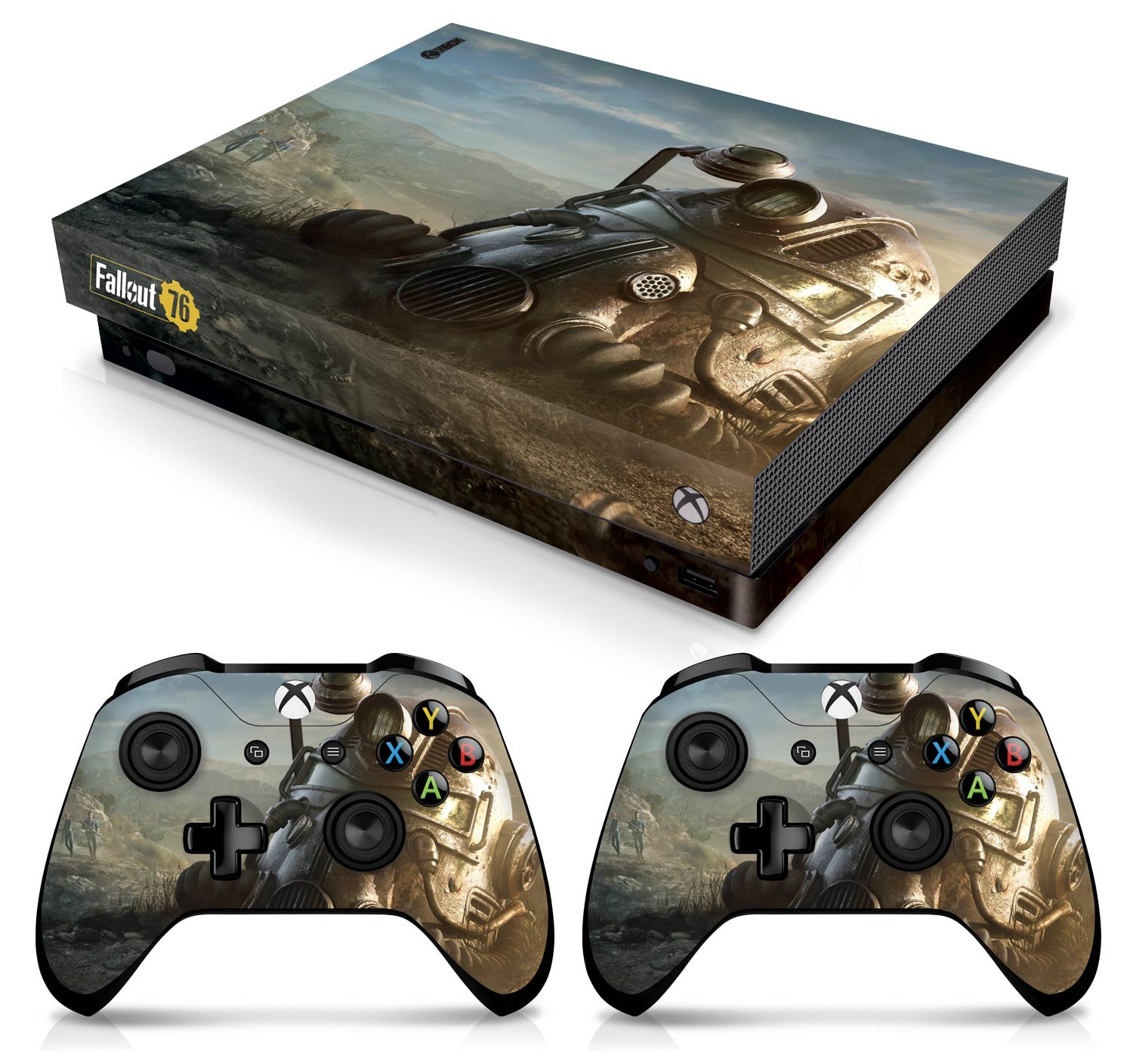 Officially Licensed Console Skin Bundle for Xbox One X - Fallout - Power Armor Helmet