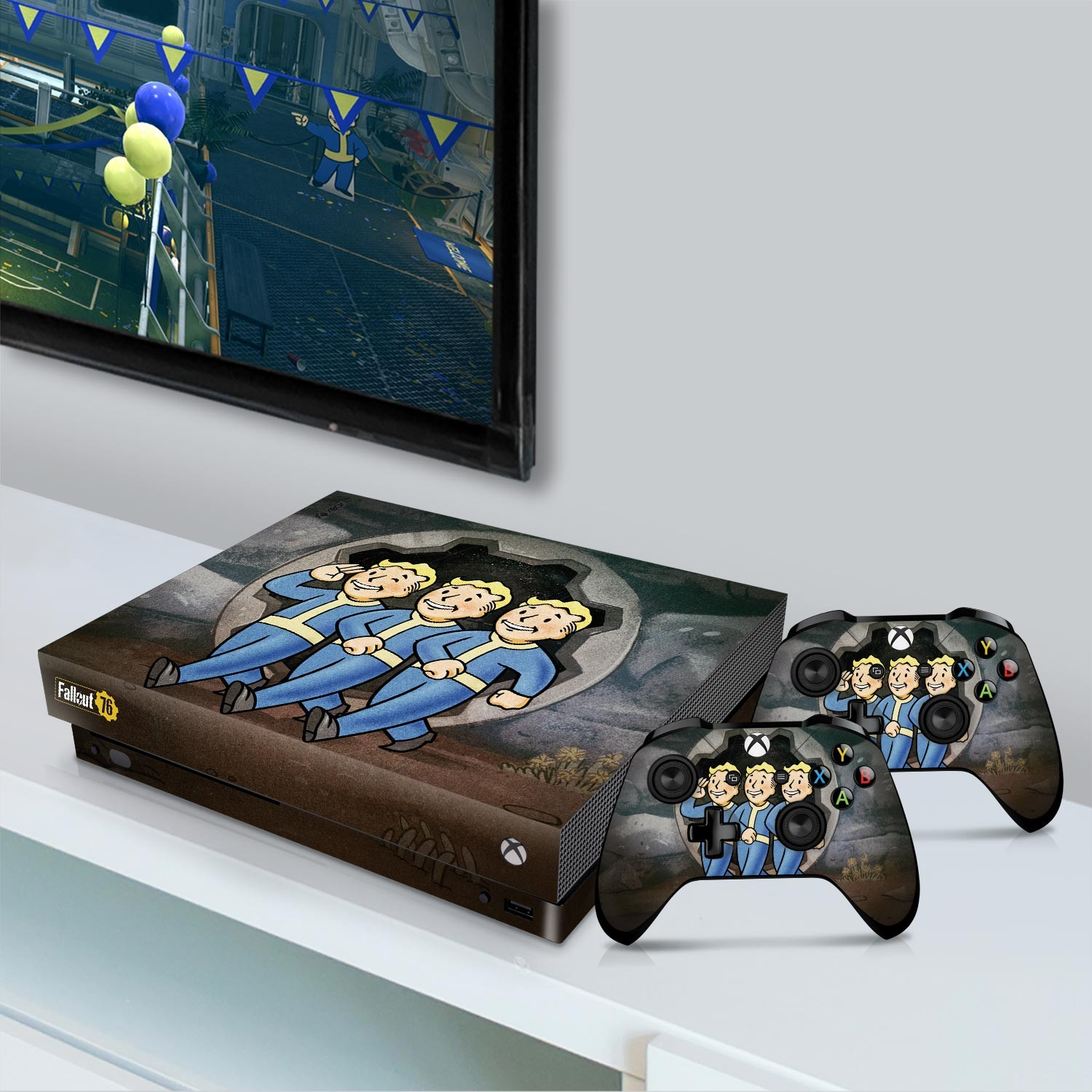 Officially Licensed Console Skin Bundle for Xbox One X - Fallout - Vault Boys