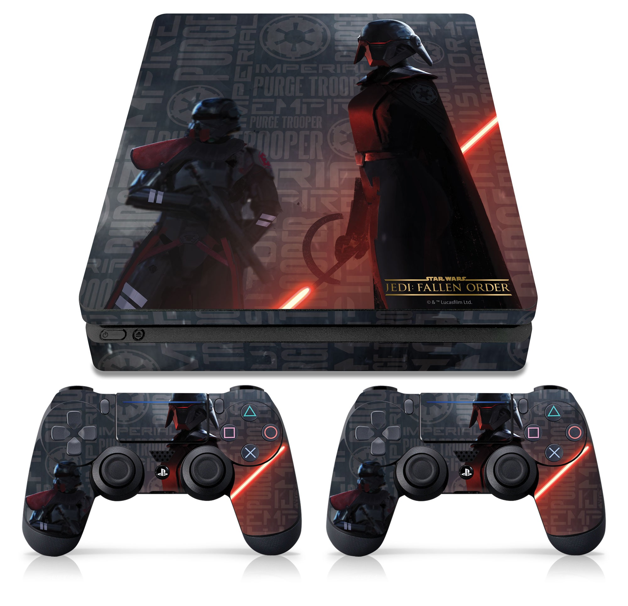 PS4 Slim Console and Controller Skin with a Star Wars Jedi Fallen Order Empire Scatter Design, Image 1
