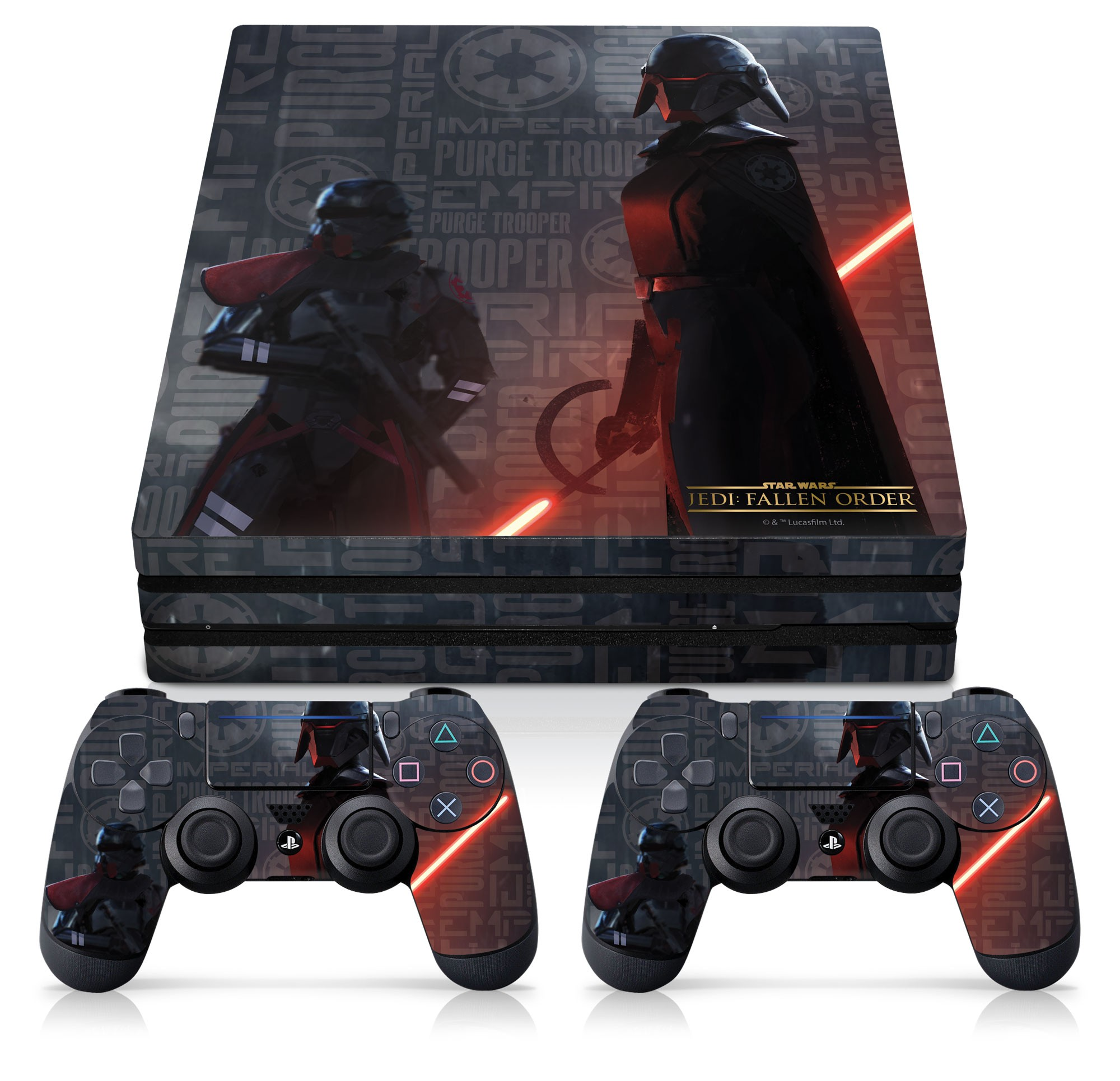 PS4 Pro Console and Controller Skin with a Star Wars Jedi Fallen Order Empire Scatter Design, Image 1