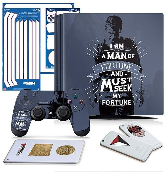 Uncharted 4 Fortune Seeker - PS4 PRO Vertical Console and Controller Gaming Skin Pack