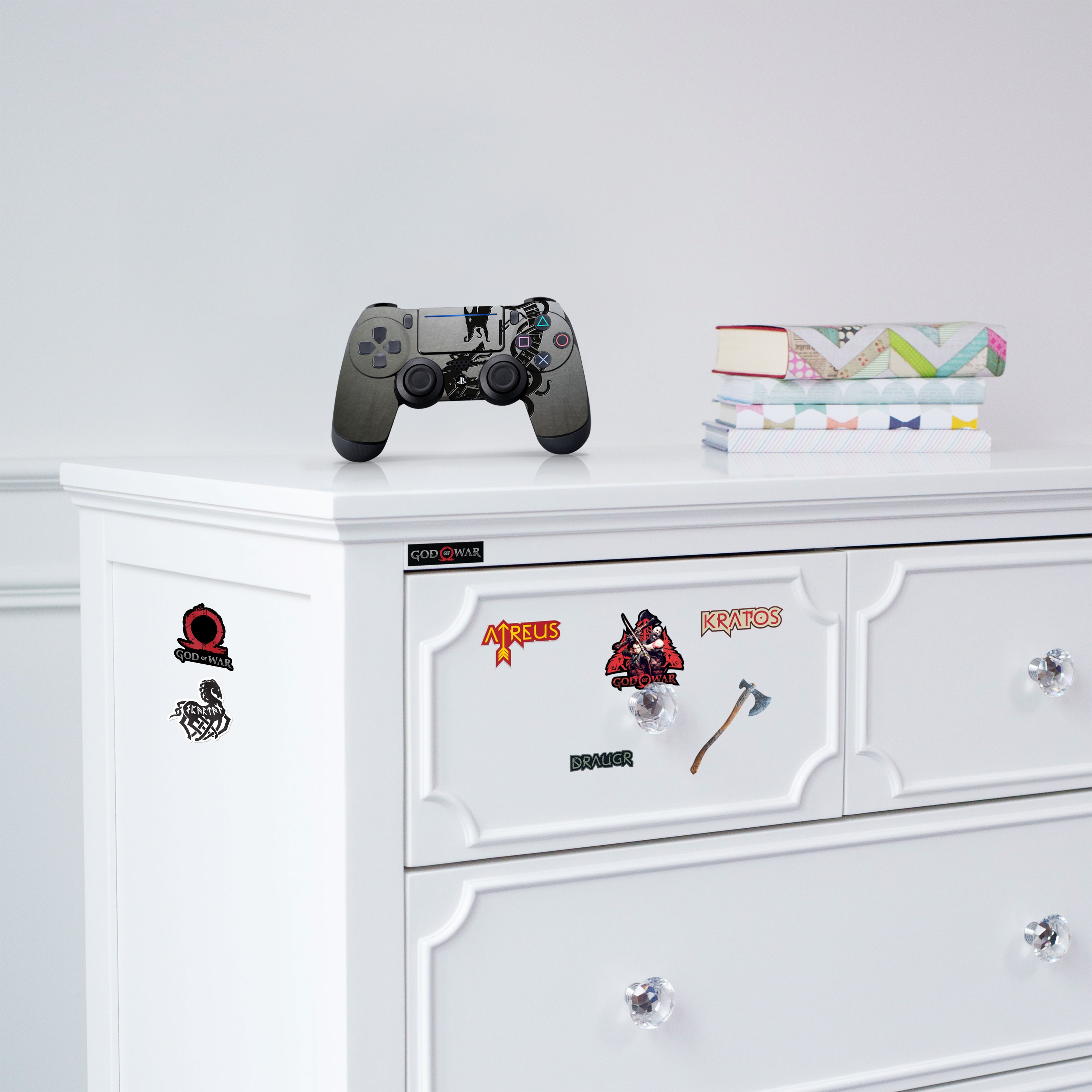 """Officially Licensed PlayStation 4 God of War DUALSHOCK 4 Wireless Controller Skin and Tech Decals """"Black Serpents"""""""
