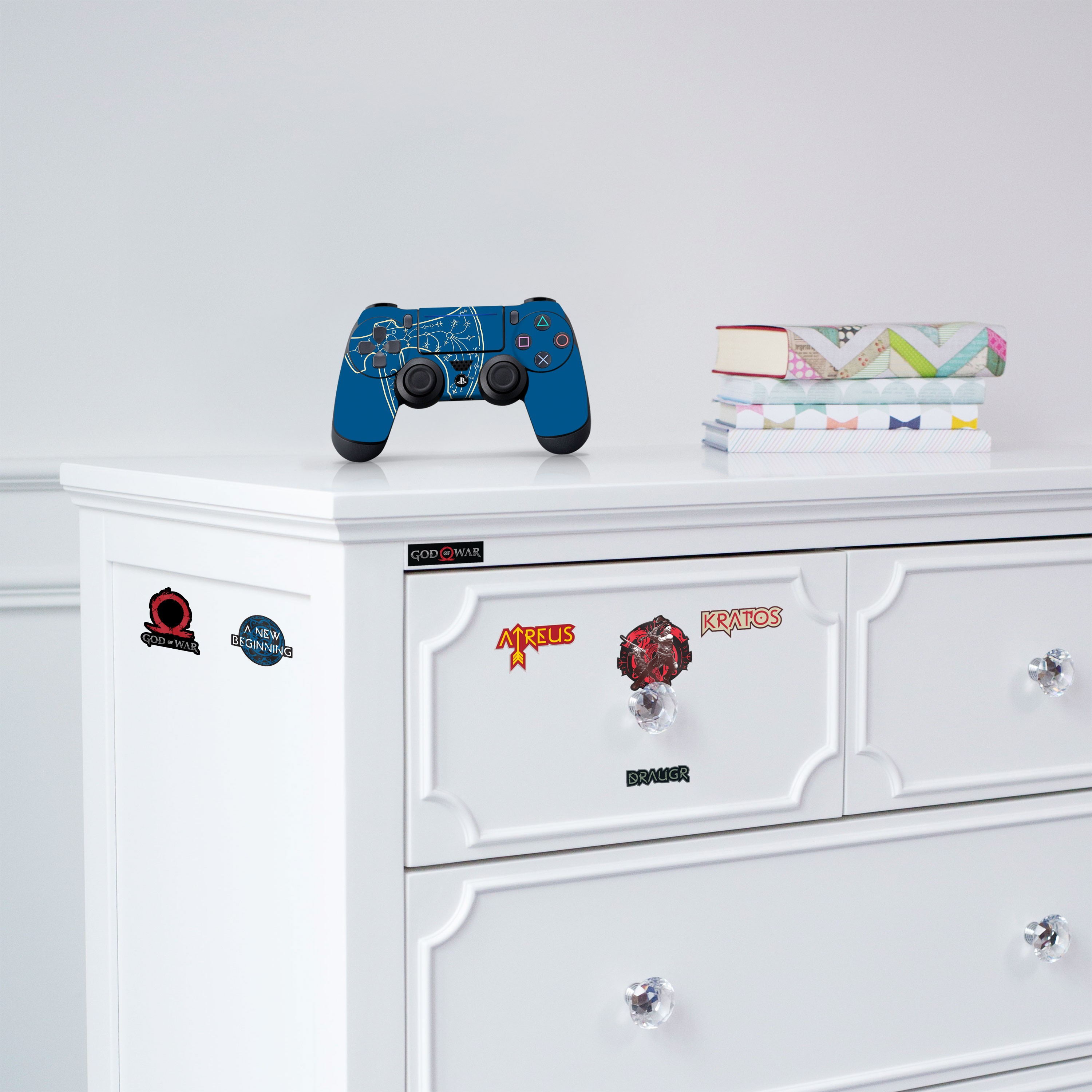 """Officially Licensed PlayStation 4 God of War DUALSHOCK 4 Wireless Controller Skin and Tech Decals """"Leviathan"""""""