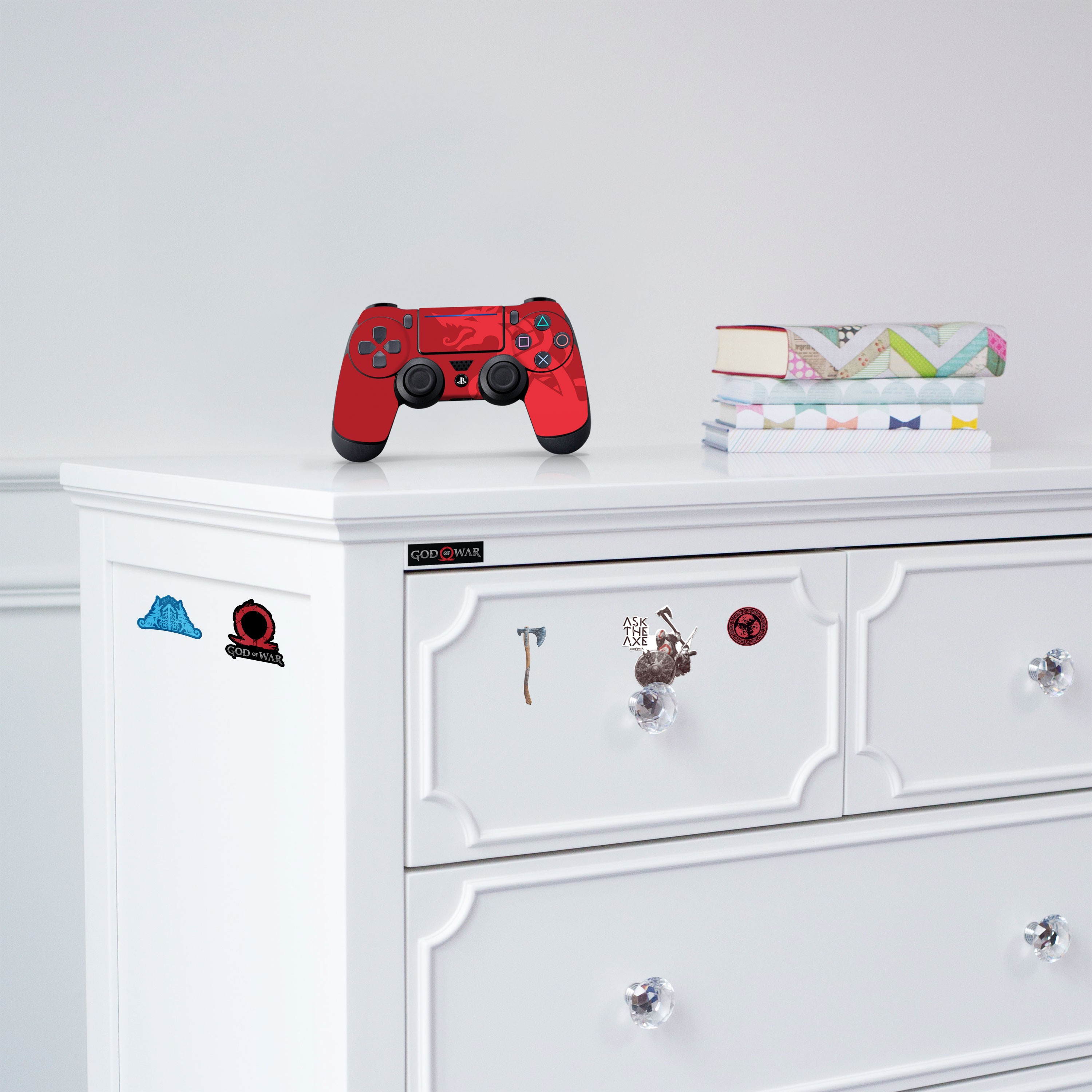 """Officially Licensed PlayStation 4 God of War DUALSHOCK 4 Wireless Controller Skin and Tech Decals """"Red Dragon"""""""