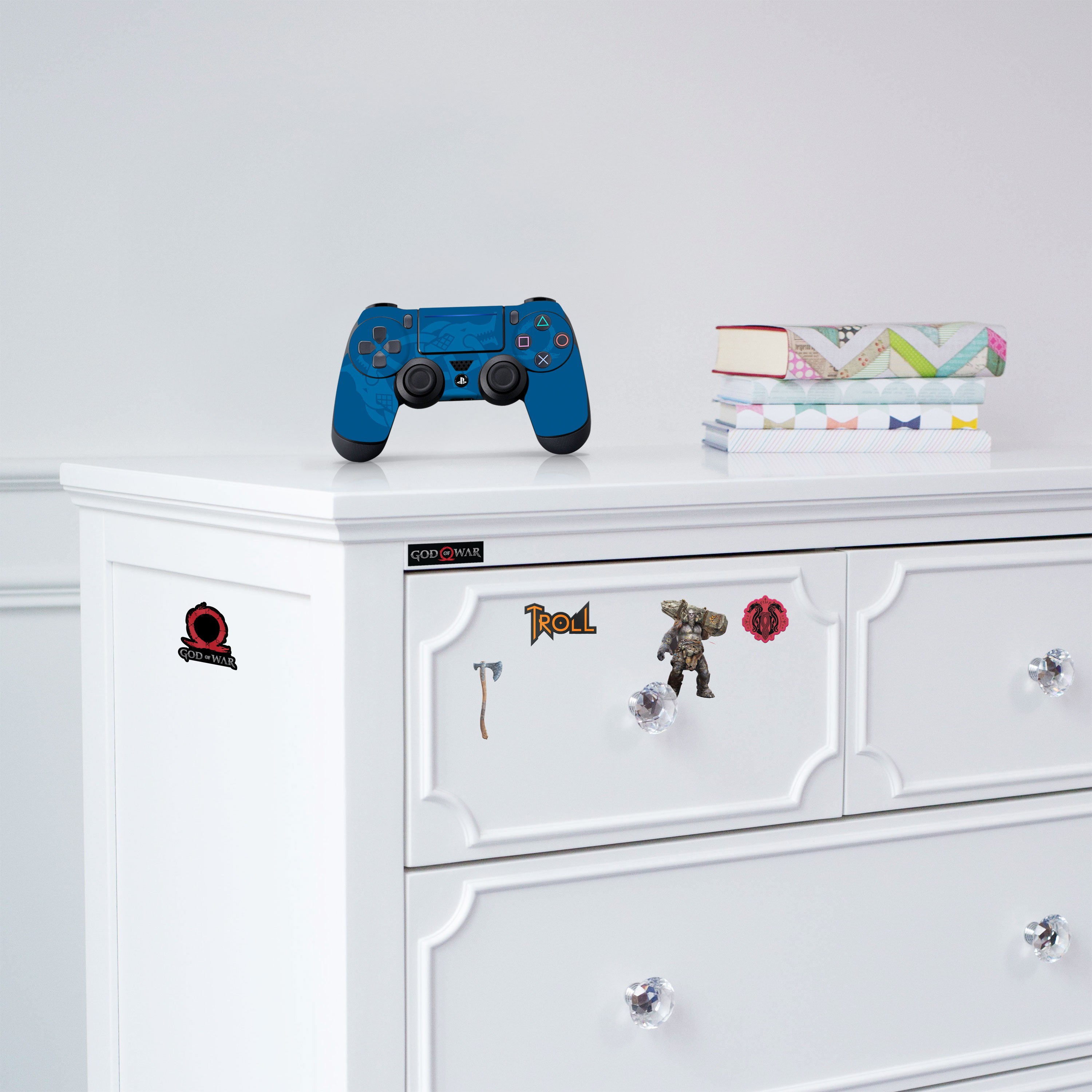 """Officially Licensed PlayStation 4 God of War DUALSHOCK 4 Wireless Controller Skin and Tech Decals """"Tri-Serpent"""""""