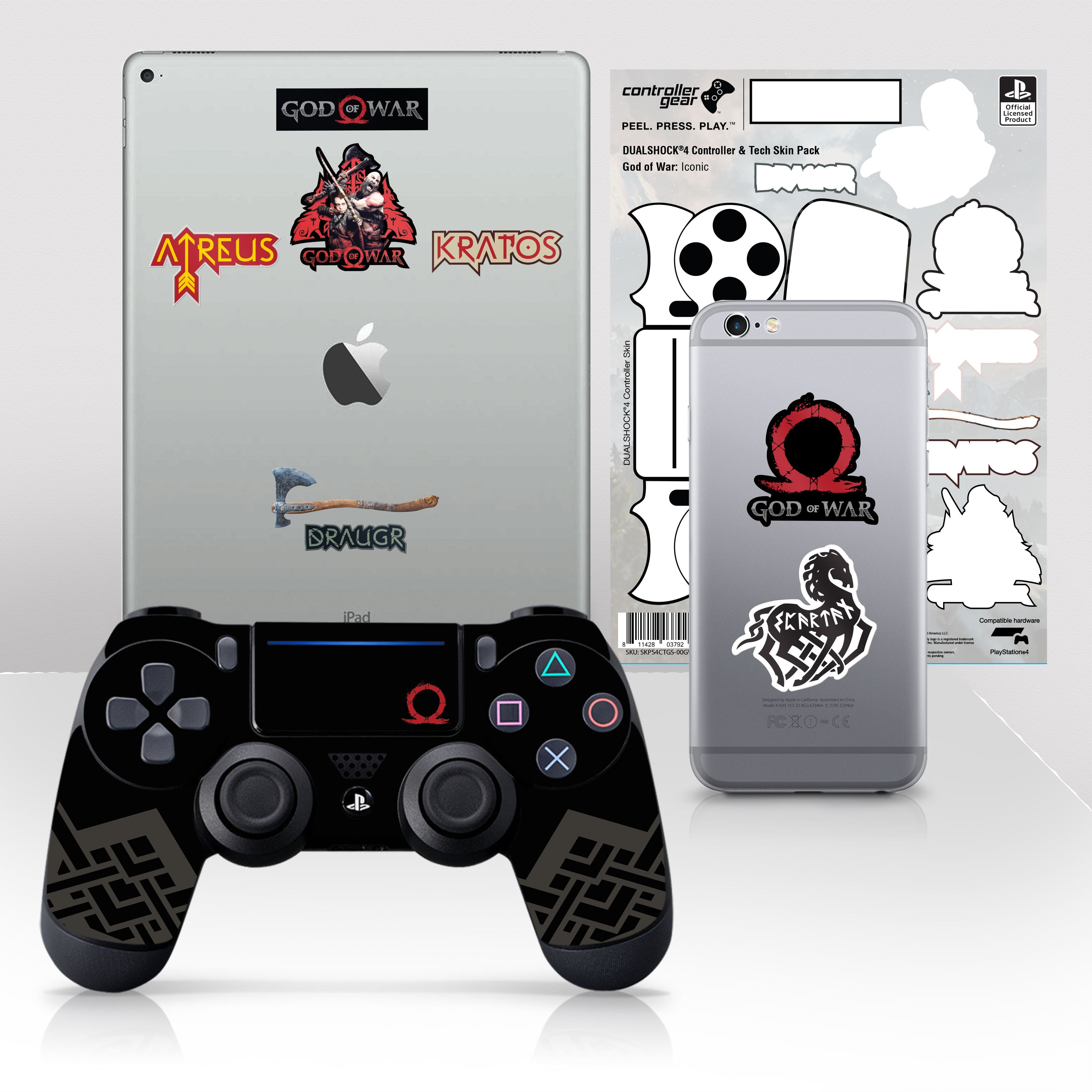 """Officially Licensed PlayStation 4 God of War DUALSHOCK 4 Wireless Controller Skin and Tech Decals """"Iconic"""""""