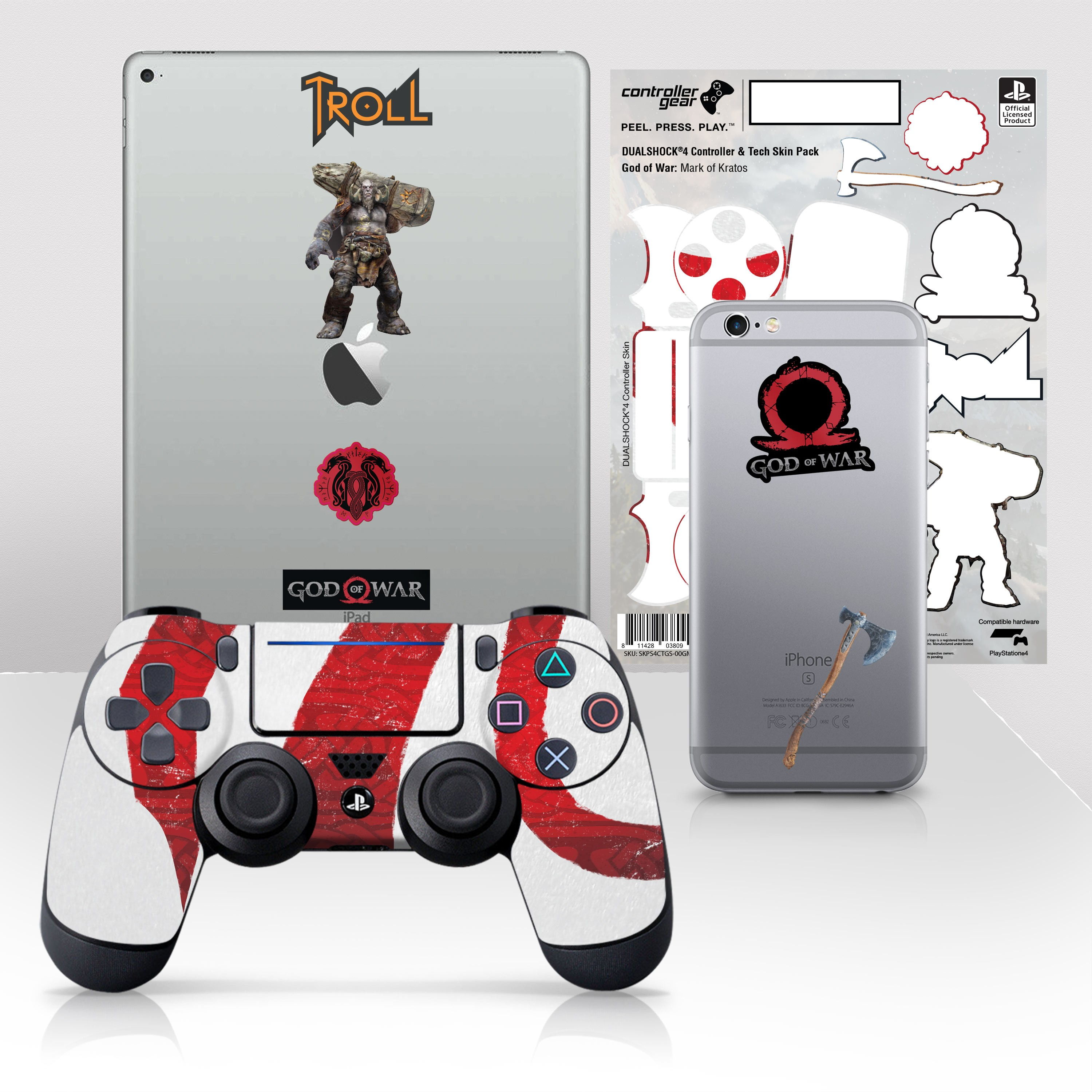 """Officially Licensed PlayStation 4 God of War DUALSHOCK 4 Wireless Controller Skin and Tech Decals """"Mark of Kratos"""""""