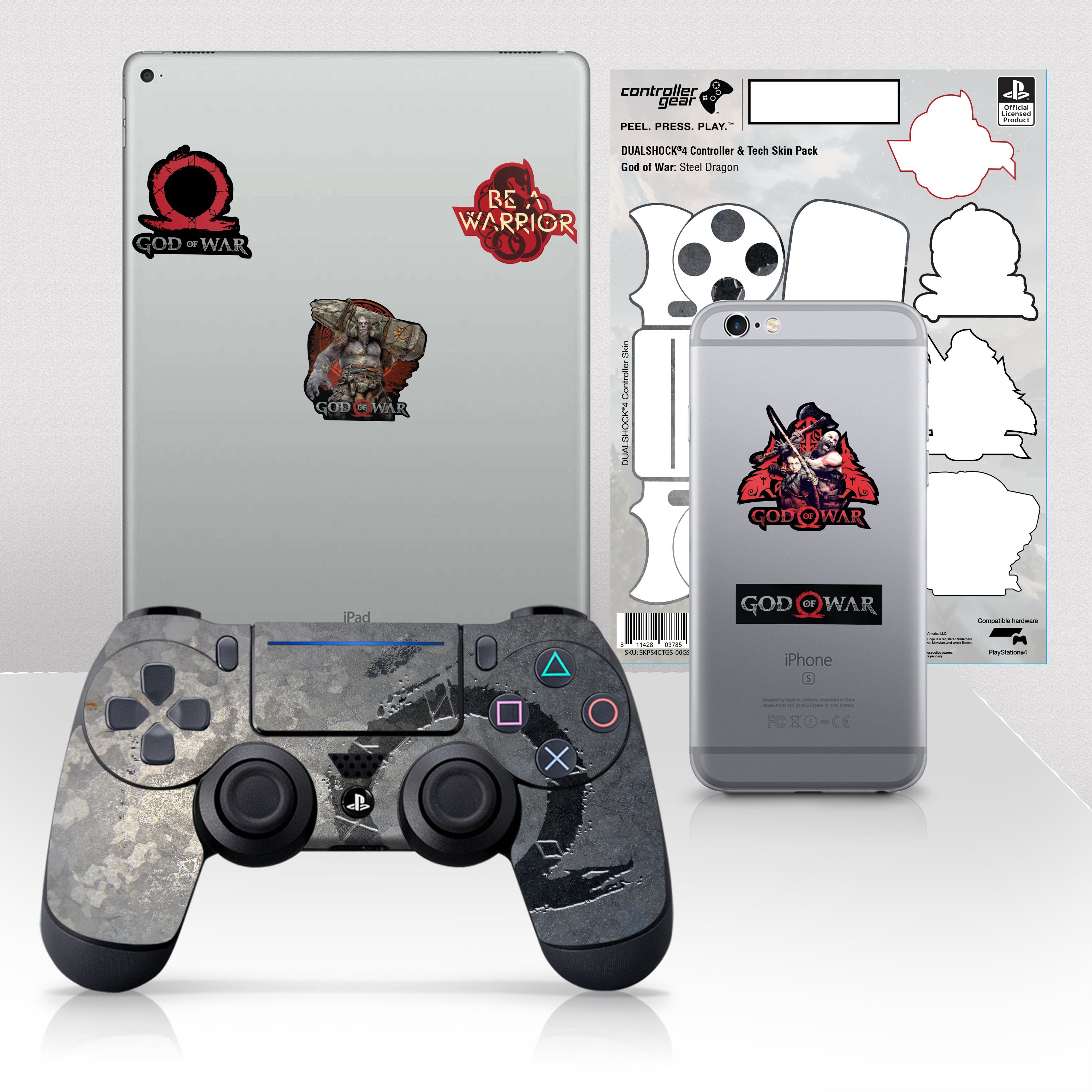 "Officially Licensed PlayStation 4 God of War DUALSHOCK 4 Wireless Controller Skin and Tech Decals ""Steel Dragon"""