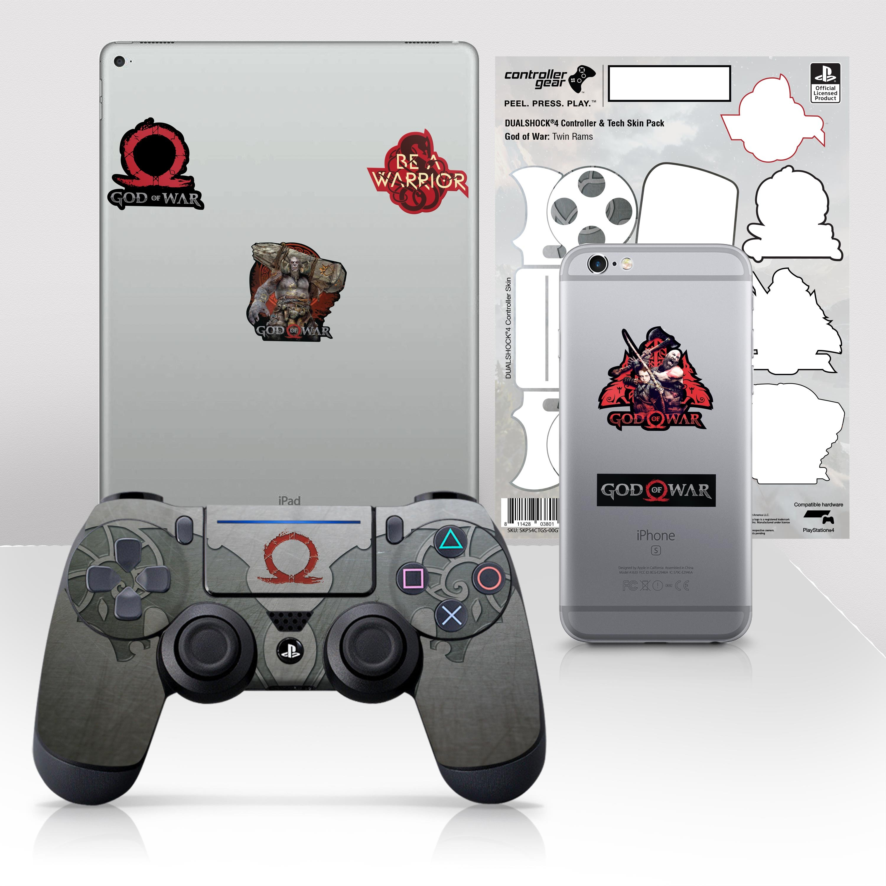 "Officially Licensed PlayStation 4 God of War DUALSHOCK 4 Wireless Controller Skin and Tech Decals ""Twin Rams"""