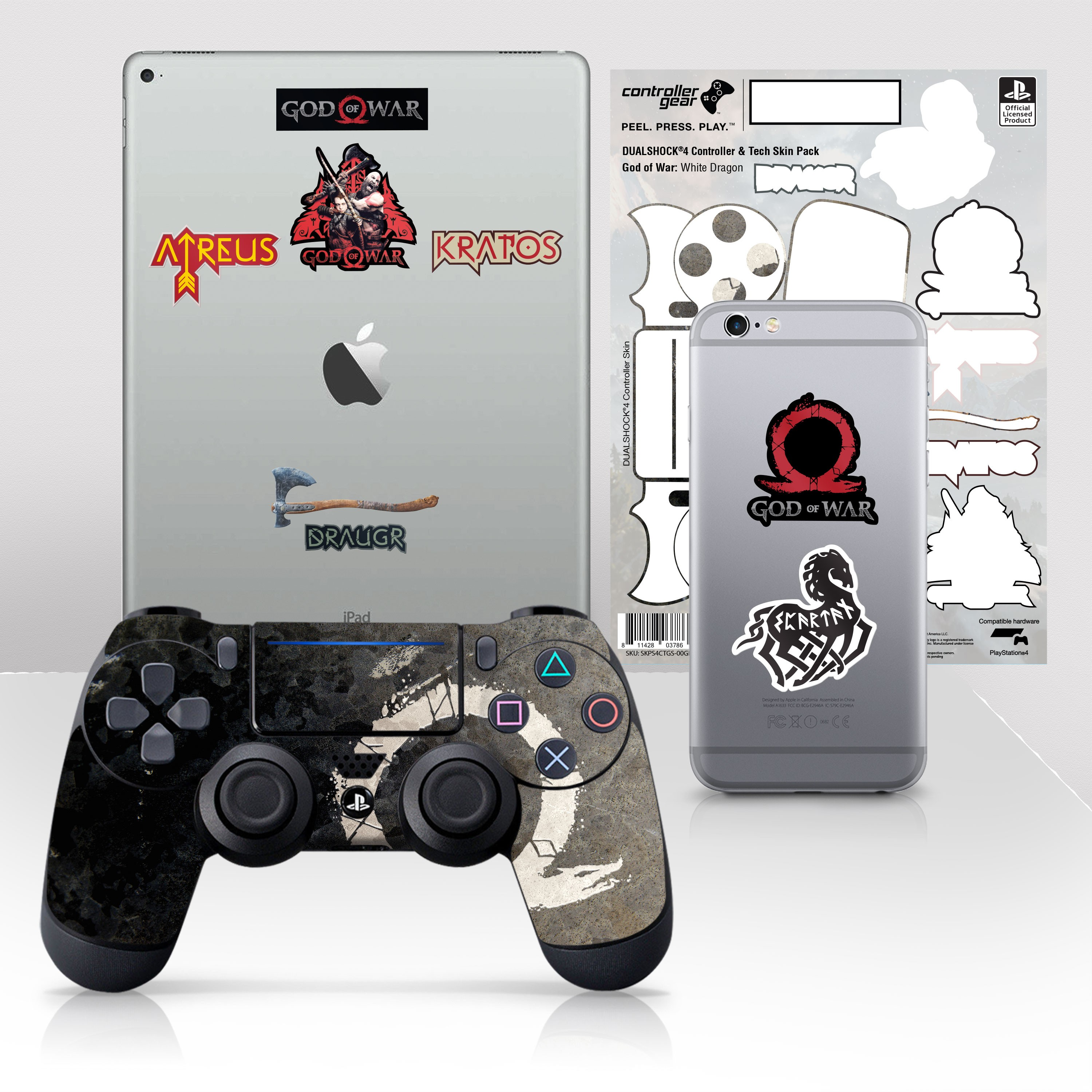"""Officially Licensed PlayStation 4 God of War DUALSHOCK 4 Wireless Controller Skin and Tech Decals """"White Dragon"""""""