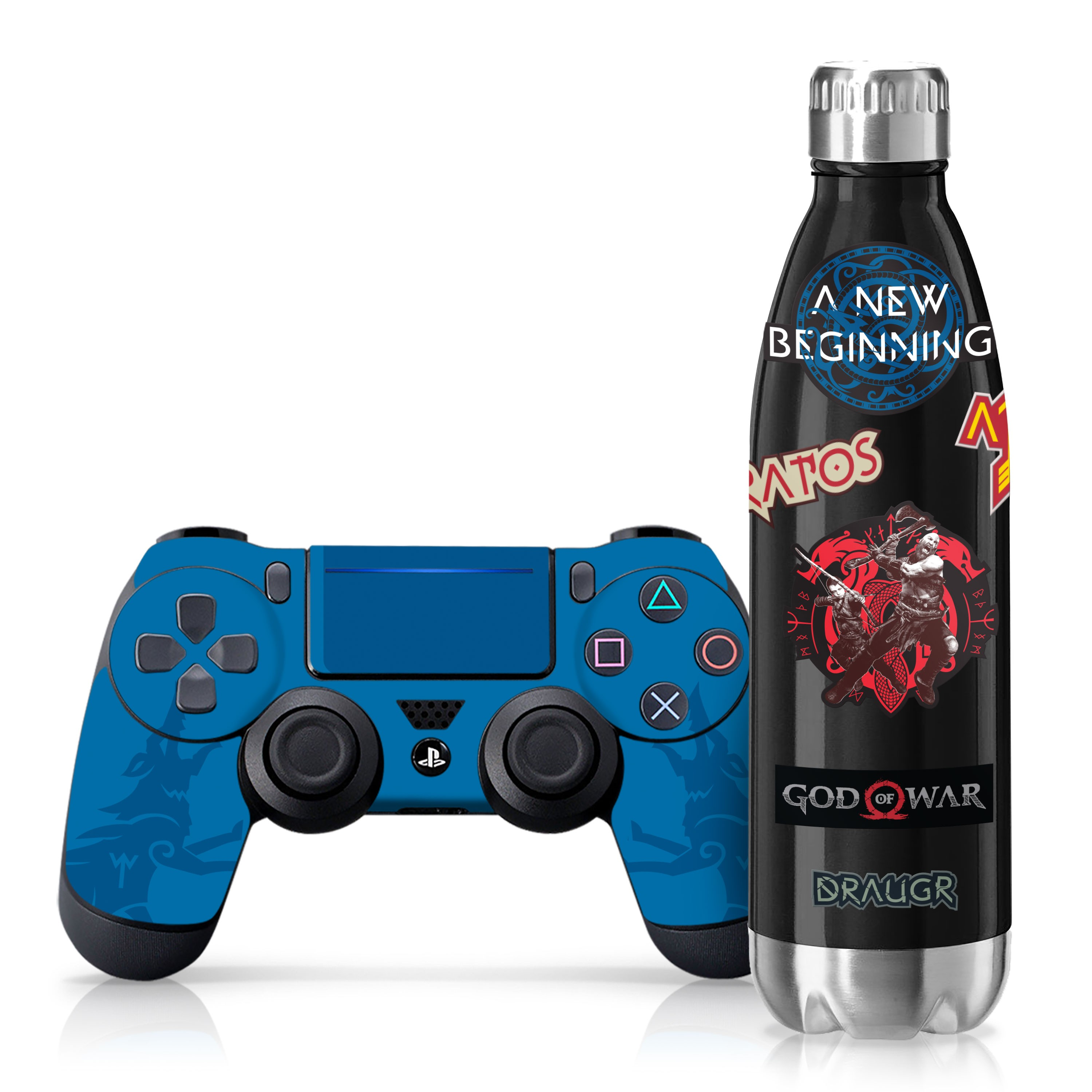 "Officially Licensed PlayStation 4 God of War DUALSHOCK 4 Wireless Controller Skin and Tech Decals ""Blue Wolves"""