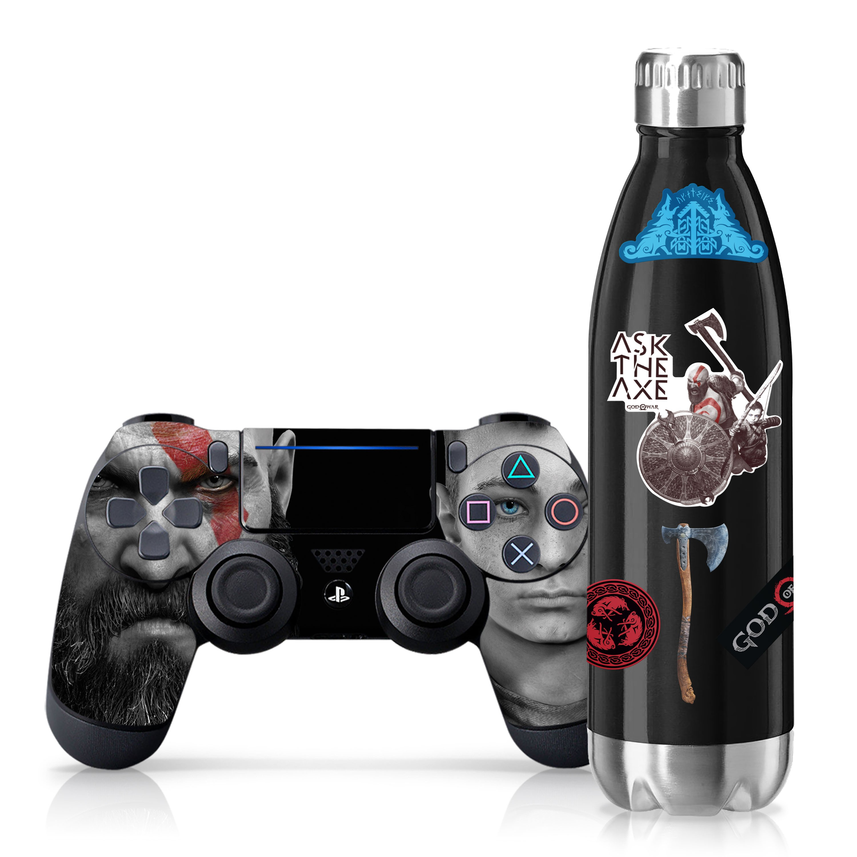 "Officially Licensed PlayStation 4 God of War DUALSHOCK 4 Wireless Controller Skin and Tech Decals ""Father and Son"""
