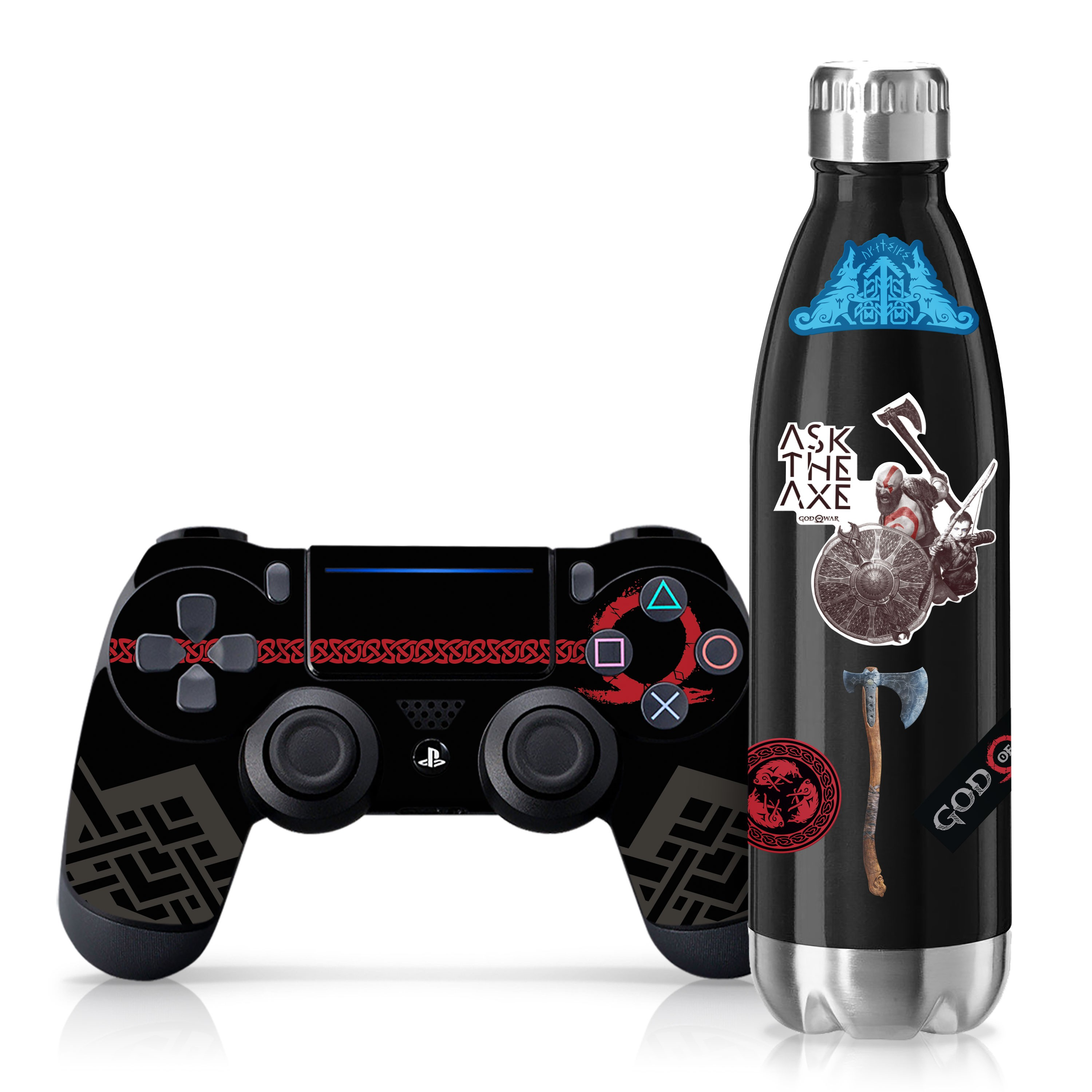 "Officially Licensed PlayStation 4 God of War DUALSHOCK 4 Wireless Controller Skin and Tech Decals ""Red Omega"""