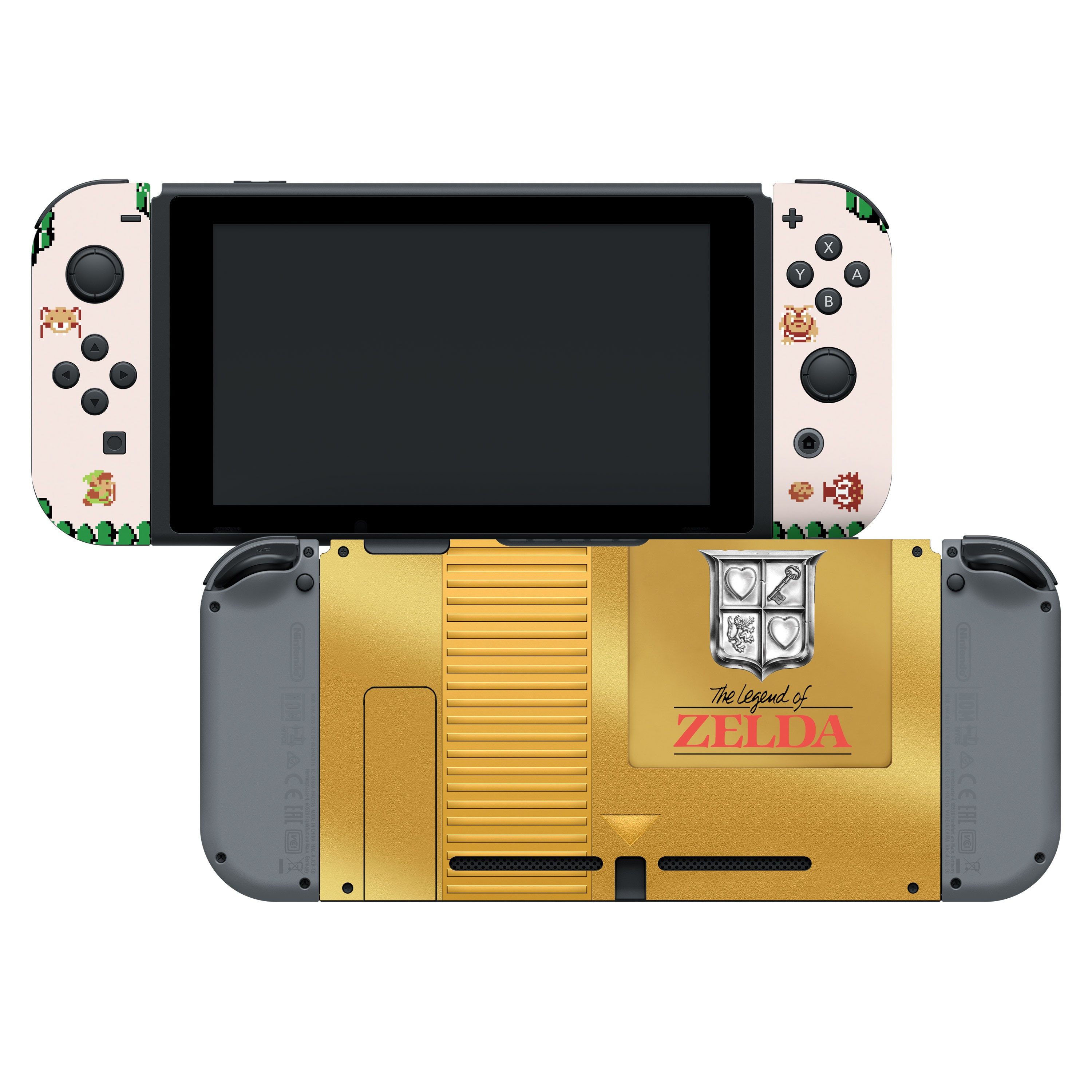 "The Legend of Zelda™ ""Gold Cartridge"" Nintendo Switch™ Console Skin + Joy-Con™ Skin + Joy-Con™ Grip Skin + Screen Protector Bundle Assortment, Officially Licensed by Nintendo"