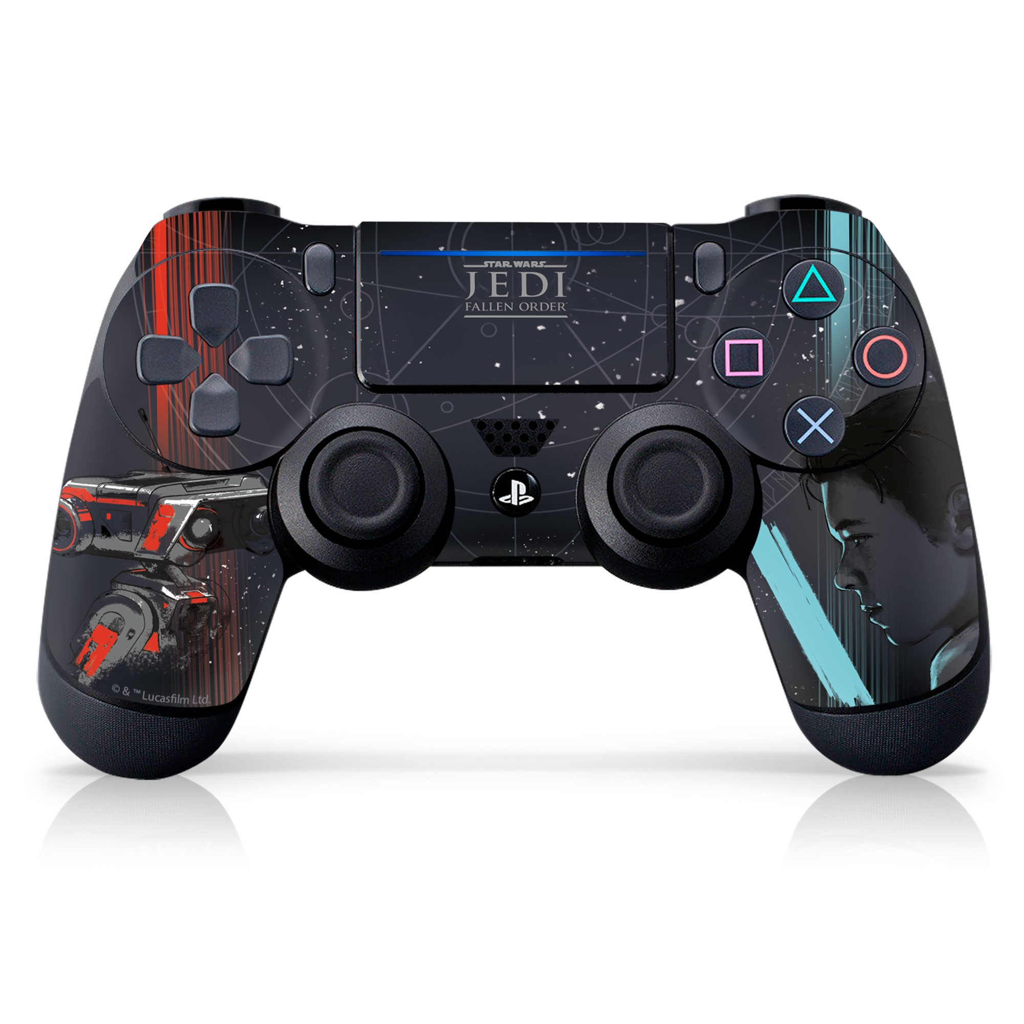 PS4 Controller Skin with a Star Wars Jedi Fallen Order Cal Kestis/BD-1 Design, Image 1