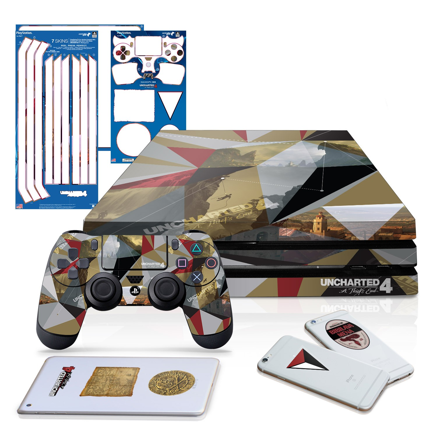 Uncharted 4 Madagascar - PS4 Pro - Horizontal Console and Controller Gaming Skin Pack - Officially Licensed by PlayStation