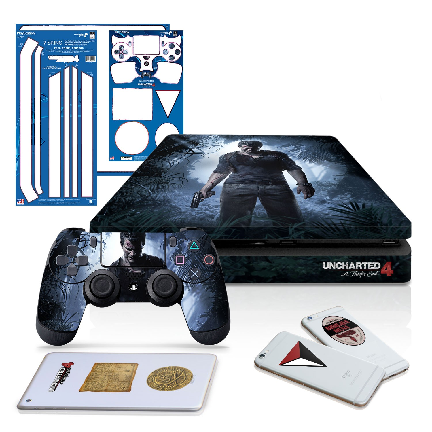 Uncharted 4 A Thief's End - PS4 Slim Horizontal Console and Controller Gaming Skin Pack - Officially Licensed by PlayStation