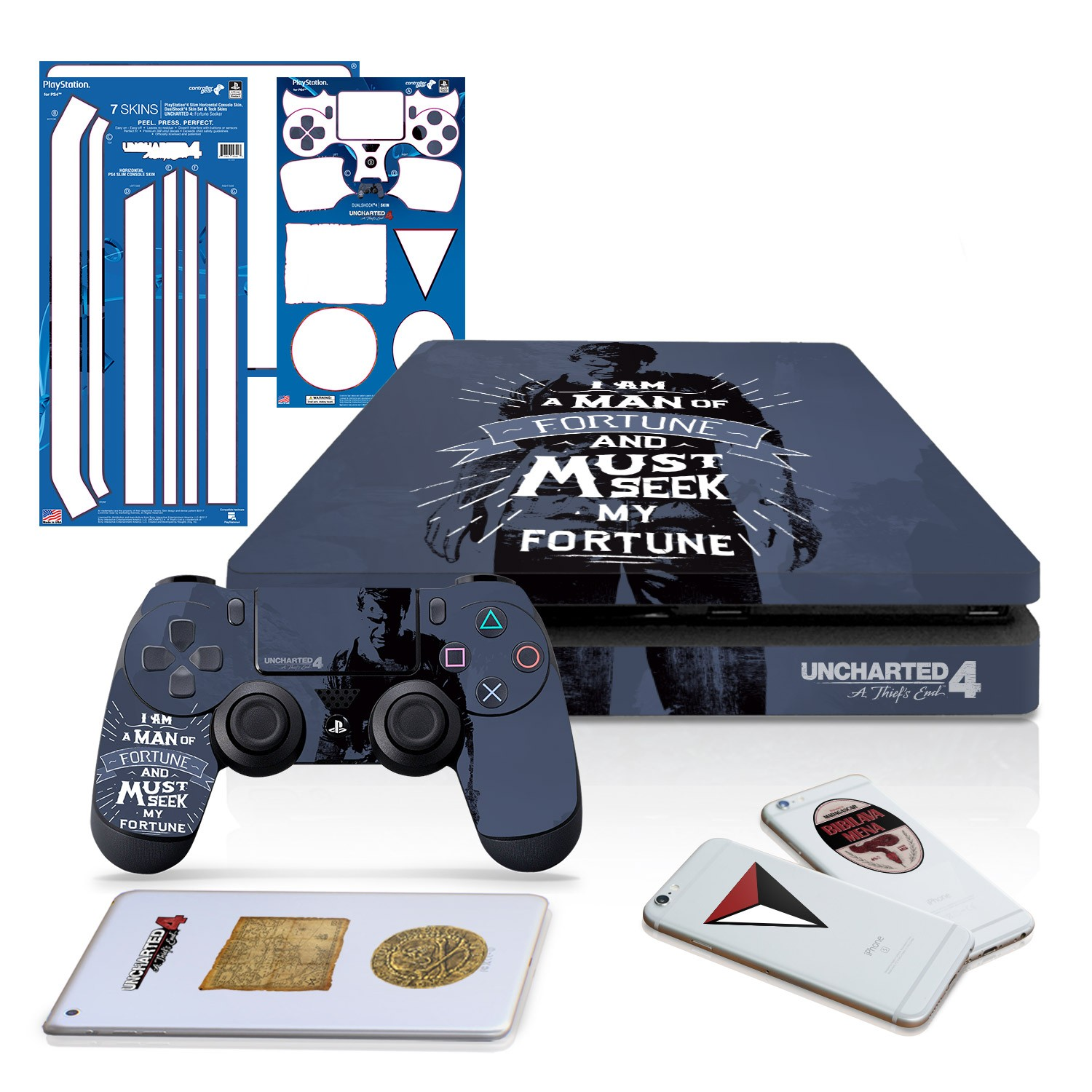 Uncharted 4 Fortune Seeker - PS4 SLIM Horizontal Console and Controller Gaming Skin Pack - Officially Licensed by PlayStation - Controller Gear
