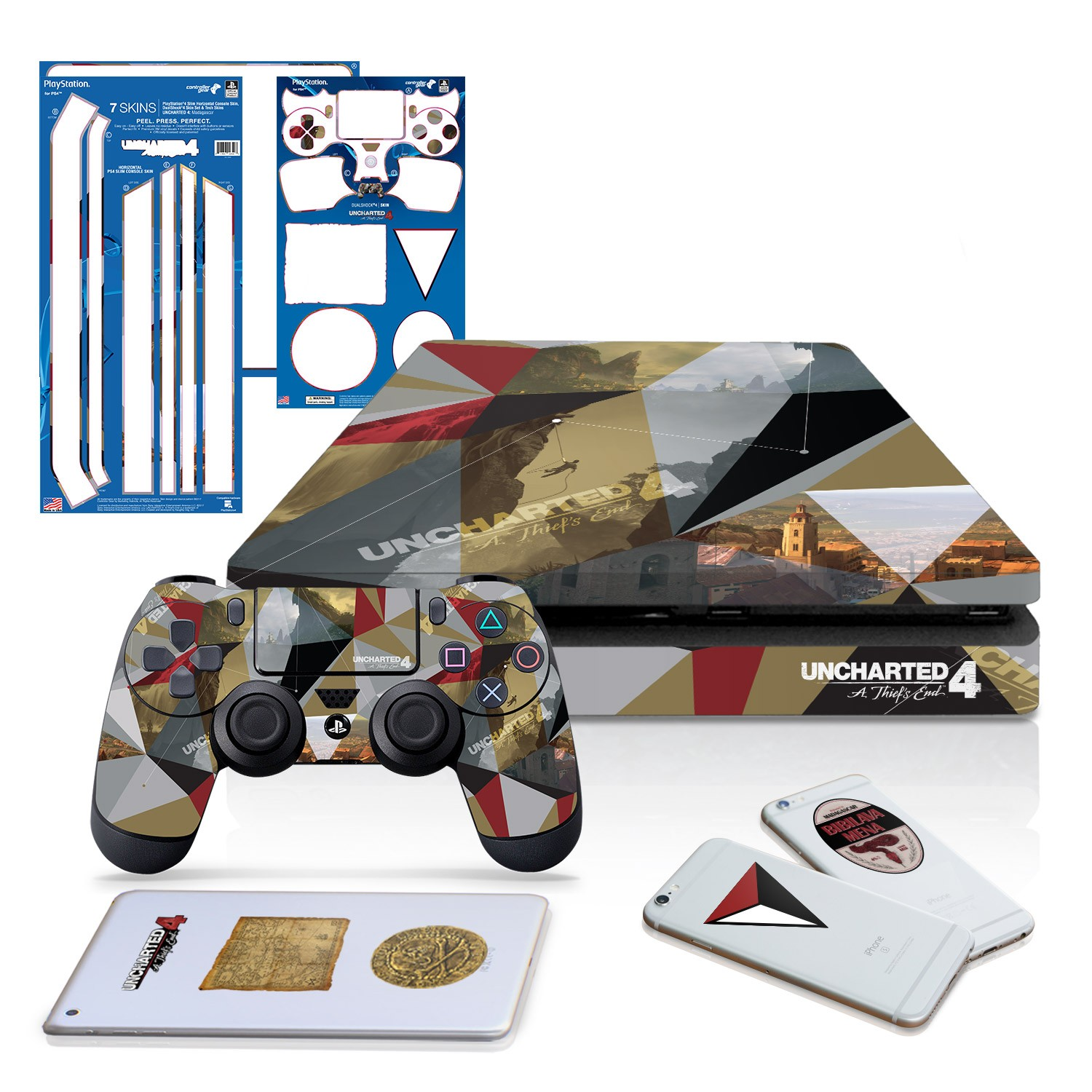 Uncharted 4 Madagascar - PS4 Slim Horizontal Console and Controller Gaming Skin Pack - Officially Licensed by PlayStation
