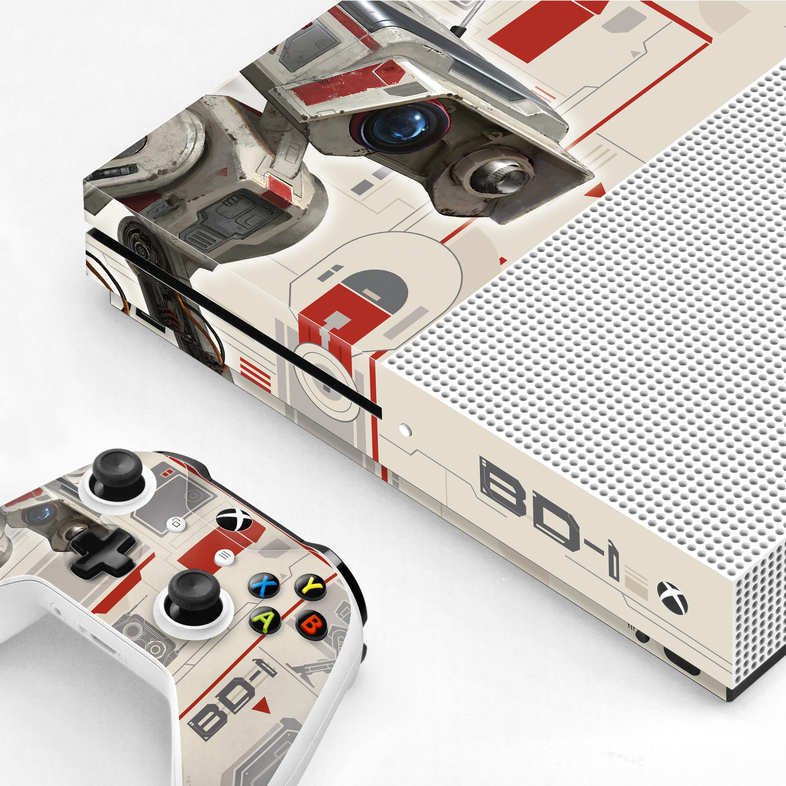 Xbox One S Console and Controller Skin with a Star Wars Jedi Fallen Order - BD-1 Design, Image 1
