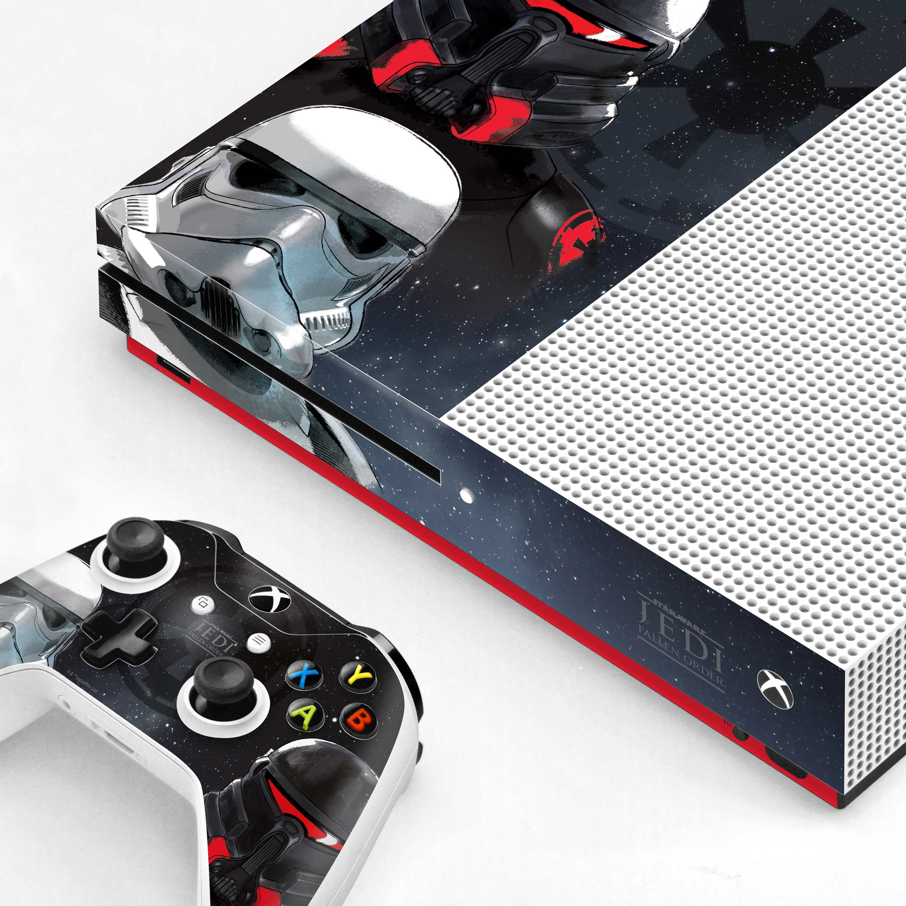 Xbox One S Console and Controller Skin with a Star Wars Jedi Fallen Order Empire Troopers Design, Image 1