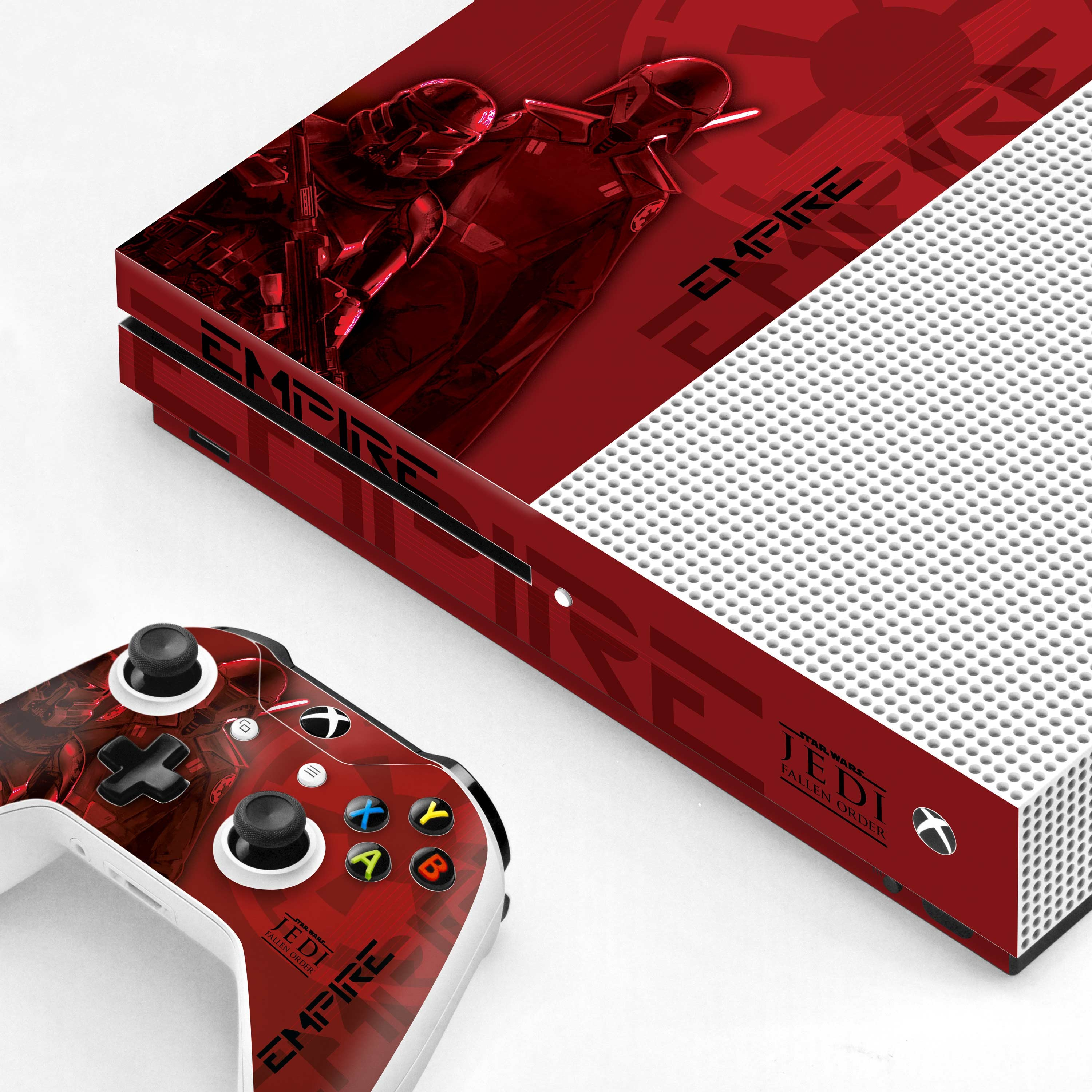 Xbox One S Console and Controller Skin with a Star Wars Jedi Fallen Order Inquisitor/Purge Trooper Design, Image 1