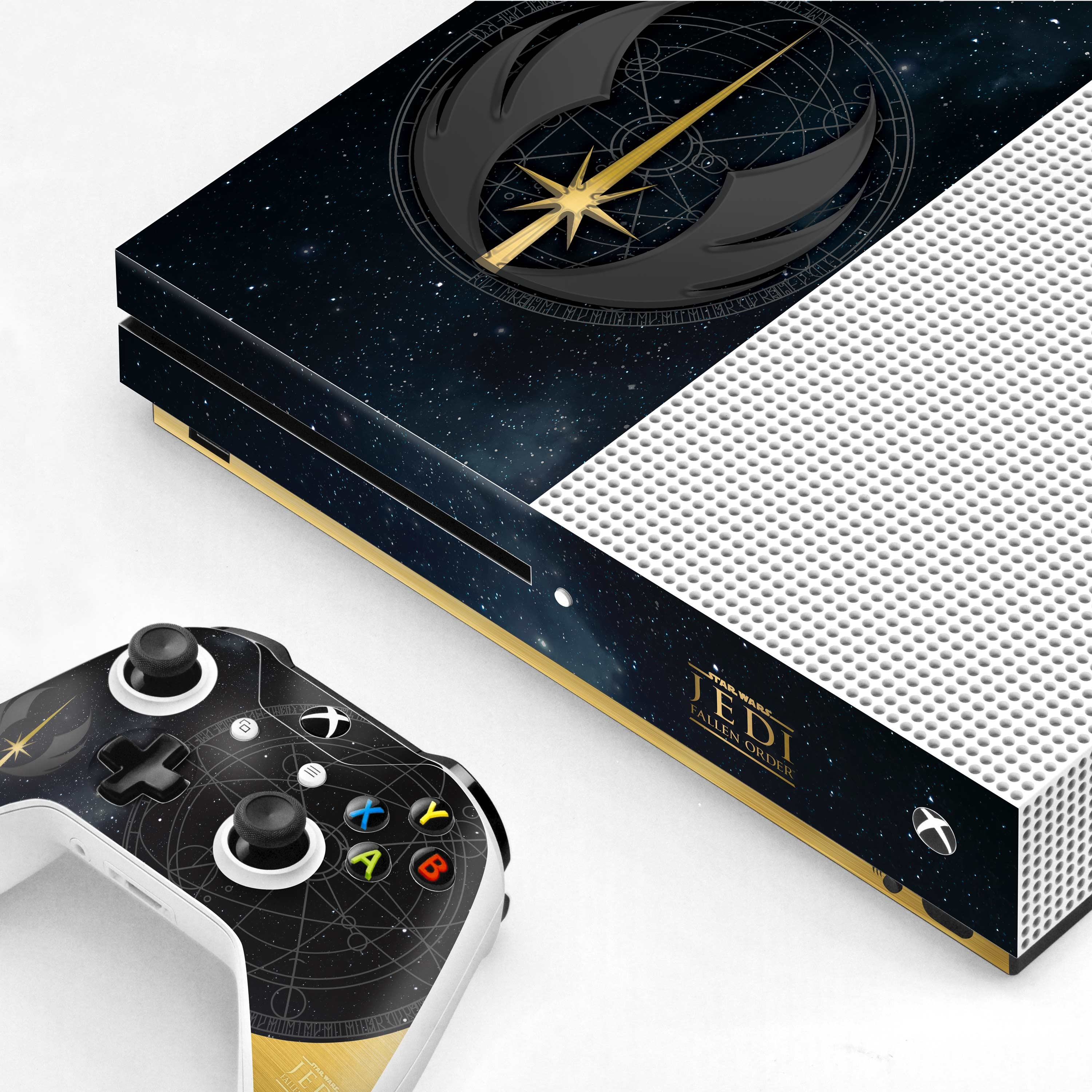 Xbox One S Console and Controller Skin with a Star Wars Fallen Order Jedi Starfield Design, Image 1
