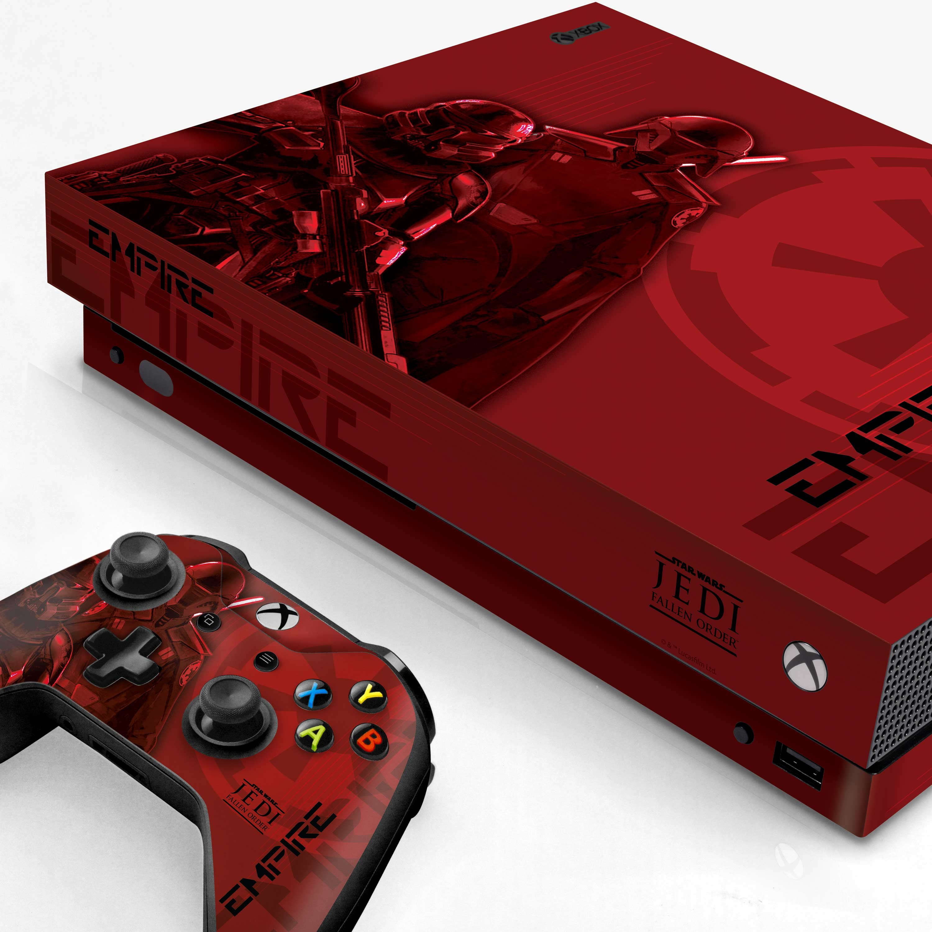 Xbox One X Console and Controller Skin with a Star Wars Jedi Fallen Order Inquisitor/Purge Trooper Design, Image 1