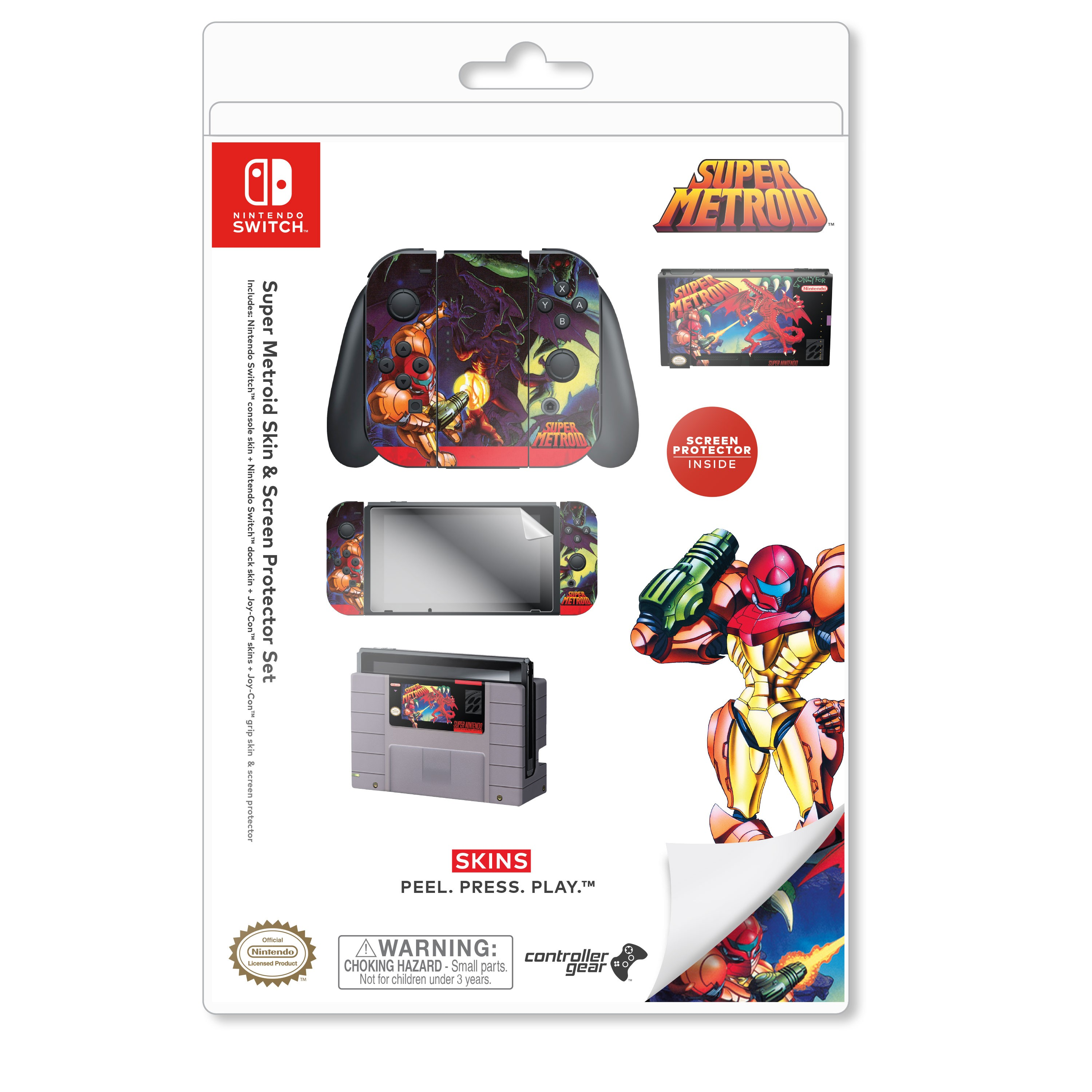 "Super Metroid™ ""Super Metroid"" Nintendo Switch™ Console skin + Dock Skin + Joy-Con™ skin + Joy-Con™ Grip Skin + Screen Protector Bundle Assortment, Officially Licensed by Nintendo"