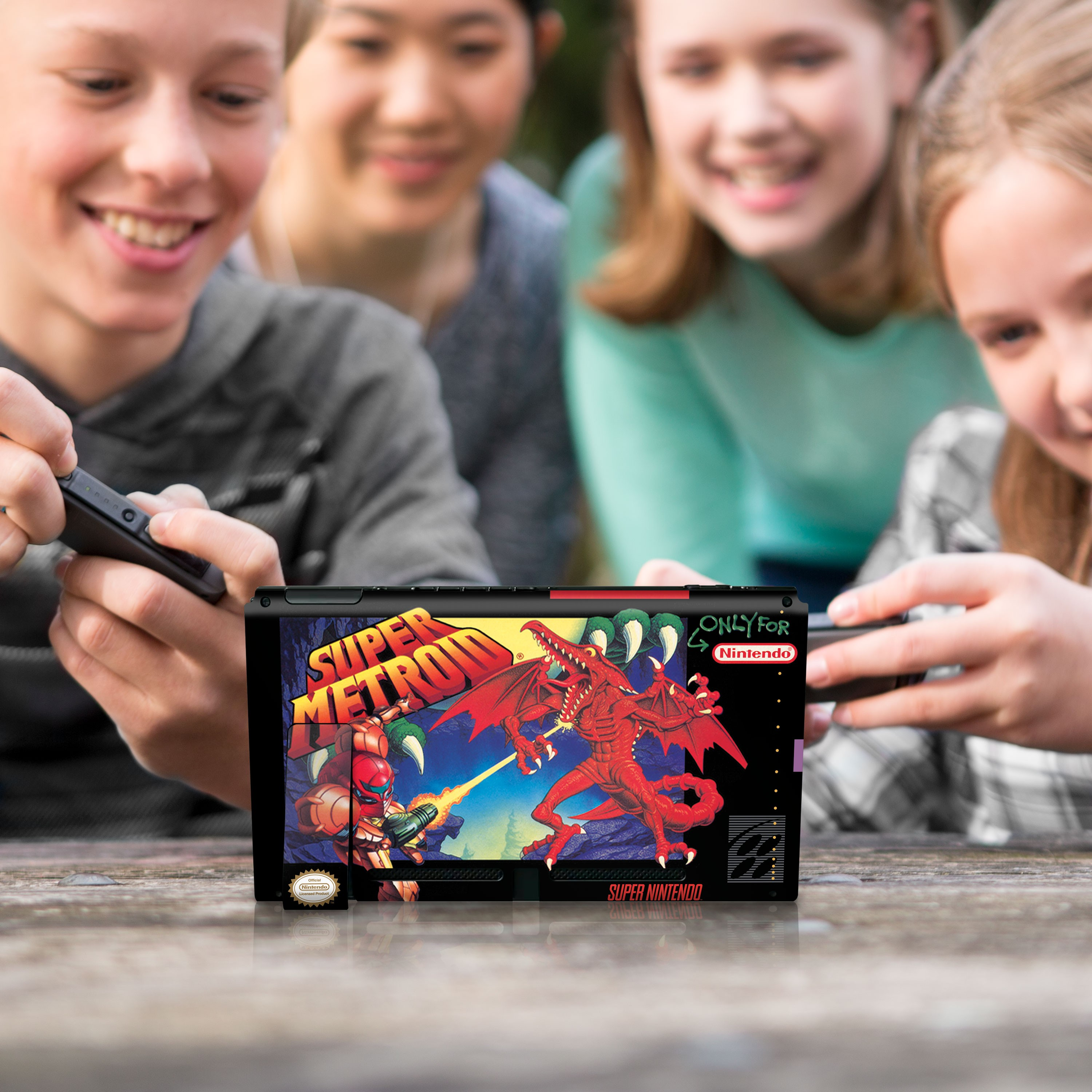 """Super Metroid™ """"Super Metroid"""" Nintendo Switch™ Console Skin + Joy-Con™ Skin + Joy-Con™ Grip Skin + Screen Protector Bundle Assortment, Officially Licensed by Nintendo"""