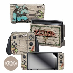 "The Legend of Zelda™ ""Retro Woodgrain"" Nintendo Switch™ Console skin + Dock Skin + Joy-Con™ skin + Joy-Con™ Grip Skin + Screen Protector Bundle Assortment, Officially Licensed by Nintendo"