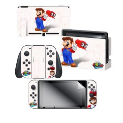 "Super Mario Odyssey™ ""Mario Map"" Nintendo Switch™ Console skin + Dock Skin + Joy-Con™ skin + Joy-Con™ Grip Skin + Screen Protector Bundle Assortment,Officially Licensed by Nintendo"