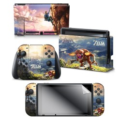"The Legend of Zelda™: Botw ""Link Hilltop View"" Nintendo Switch™ Console skin + Dock Skin + Joy-Con™ skin + Joy-Con™ Grip Skin + Screen Protector Bundle Assortment, Officially Licensed by Nintendo"