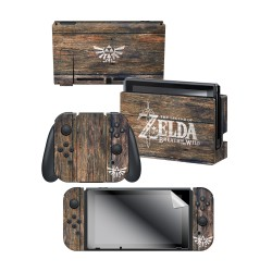 "The Legend of Zelda™: Botw ""Woodgrain Triforce"" Nintendo Switch™ Console skin + Dock Skin + Joy-Con™ skin + Joy-Con™ Grip Skin + Screen Protector Bundle Assortment, Officially Licensed by Nintendo"