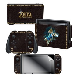 "The Legend of Zelda™: Botw ""Link Tribal"" Nintendo Switch™ Console skin + Dock Skin + Joy-Con™ skin + Joy-Con™ Grip Skin + Screen Protector Bundle Assortment, Officially Licensed by Nintendo"